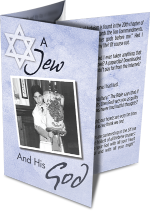 """This is what the """"A Jew and His God"""" booklet looks like folded."""