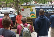 Sharing the Gospel in the open air in Boston. Lots of people stop and listen and chat with us.