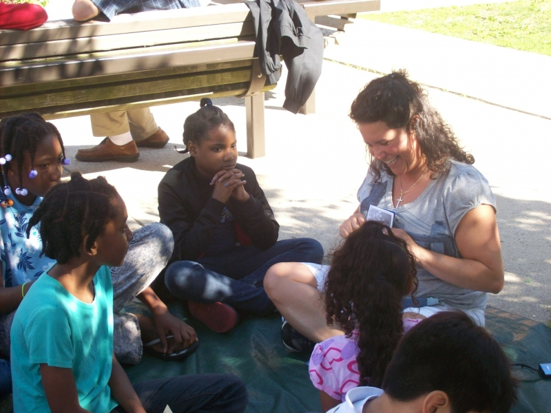 Nicole went through a gospel booklet with some of the girls.
