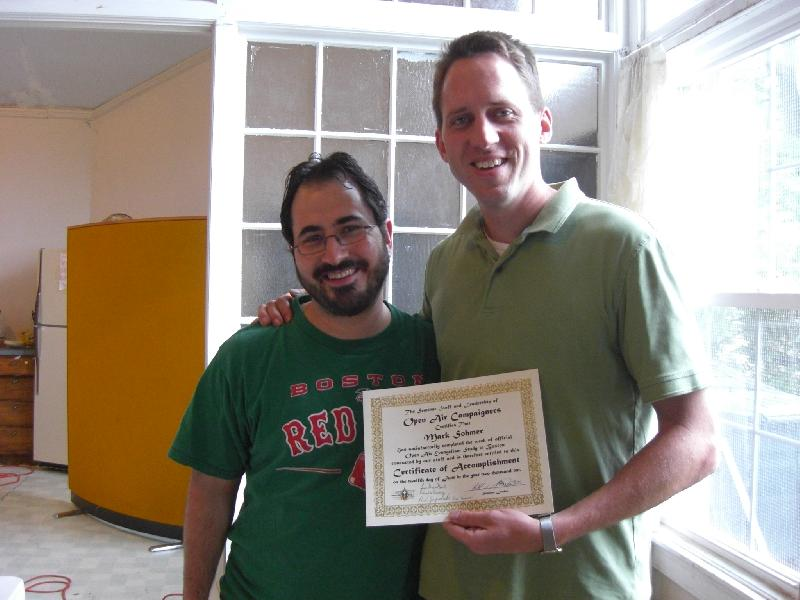 Amazingly, not only did I NOT get expelled for grating on Aaron all week, but he SMILED when he presented me with my graduation certificate. (Maybe he was relieved to see me go!) ;)