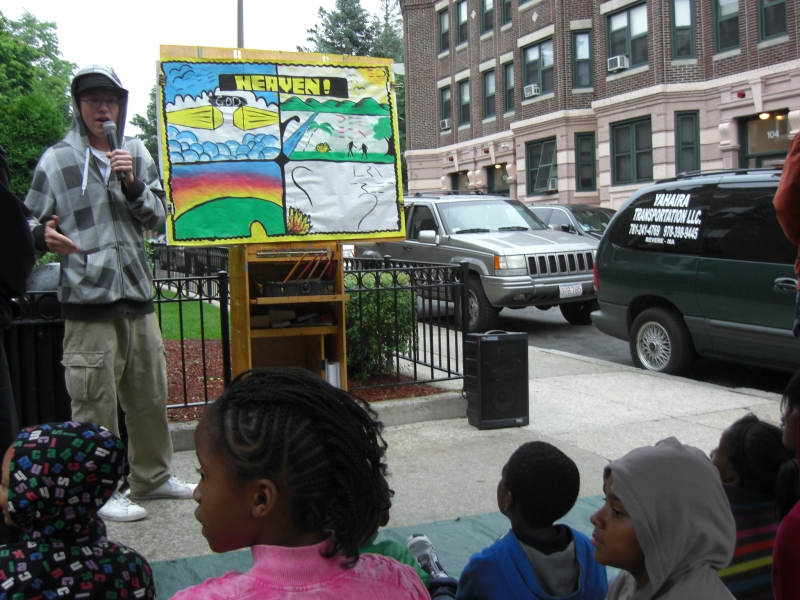 Amos preaching the \'Heaven\' message to the kids.