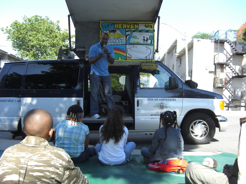 Robert got to preach from the van too? They had the fun group!