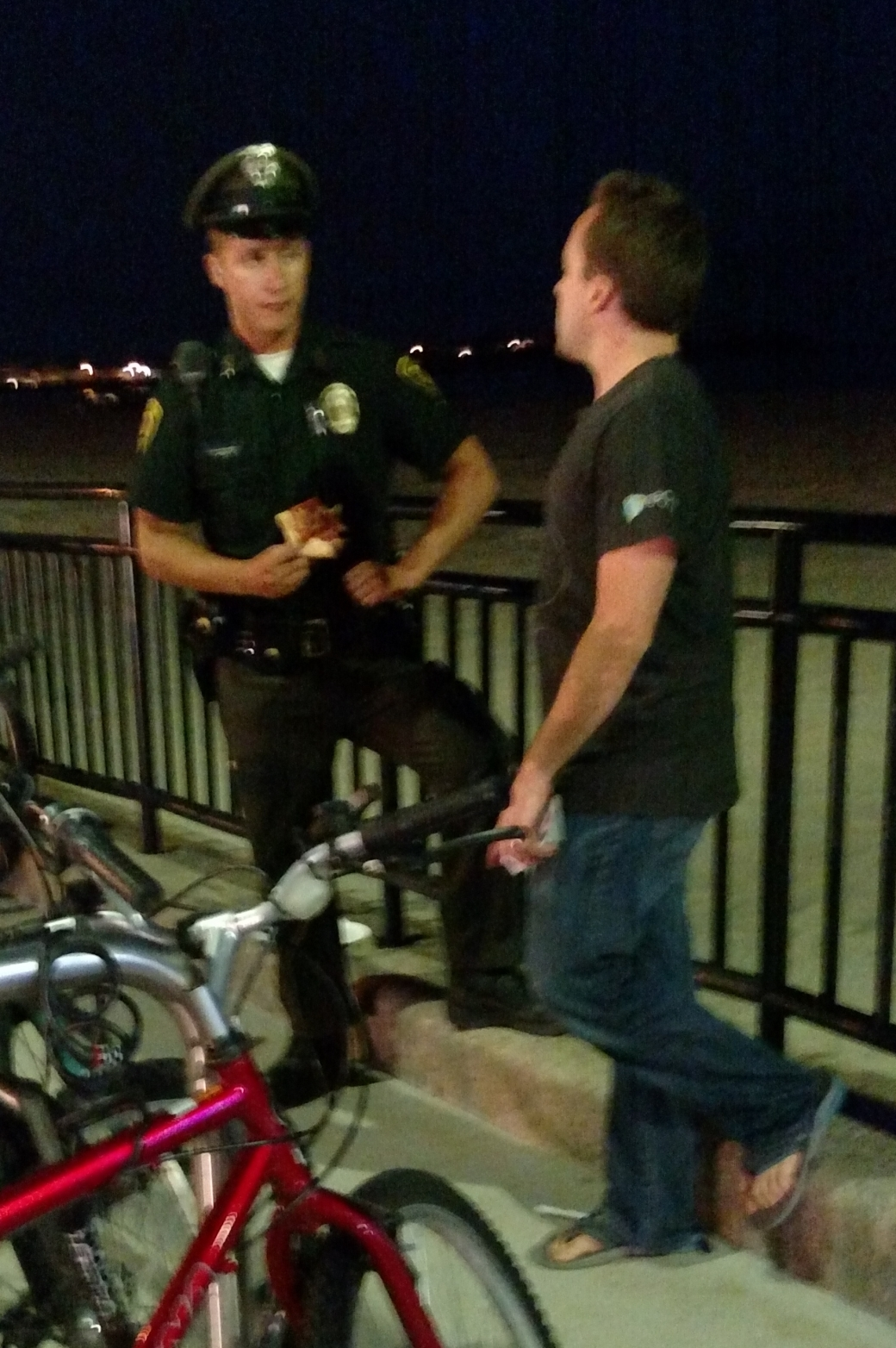 Typically the Police leave us alone, which is much better than them kicking us out. But Matt got into a gospel conversation with this Officer while he was on break! Praise God!