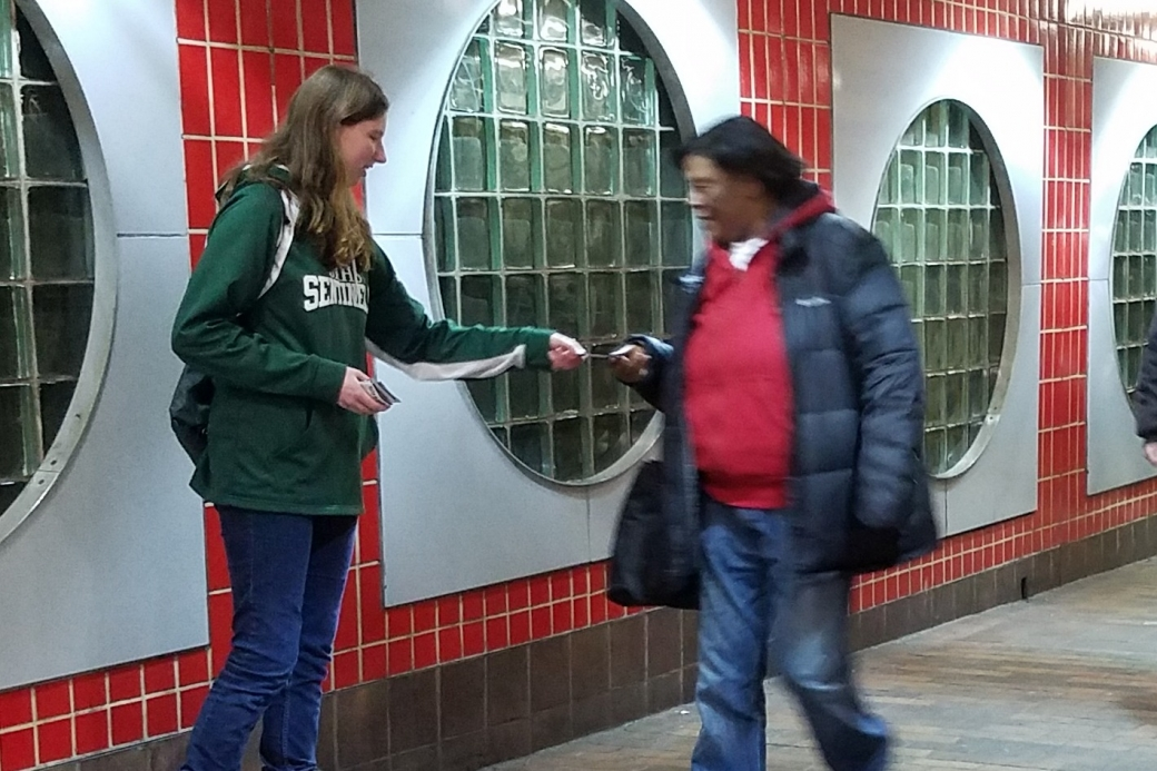 Amanda let love for the Lost overpower her fear, and she handed out tracts like a champ!