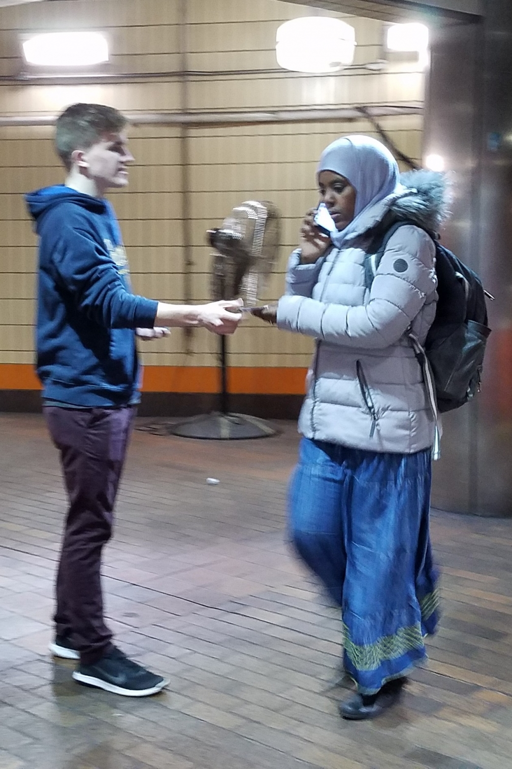 Muslim women often take gospel literature from us. Here a Muslim woman takes a tract from Ryan. Sadly, whenever a Muslim woman is with a man, she almost never accepts anything from us. How sad that these women are so intimidated to show their interest when with their husbands or boyfriends.