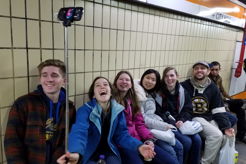 This is what happens when you give a selfie-stick to a group of teenagers!!!