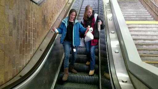 Ellie and Melissa had fun going the wrong way on the escalator. This escalator was going up, but Ellie and Melissa tried their best to go down. Crazy teens!!! :)