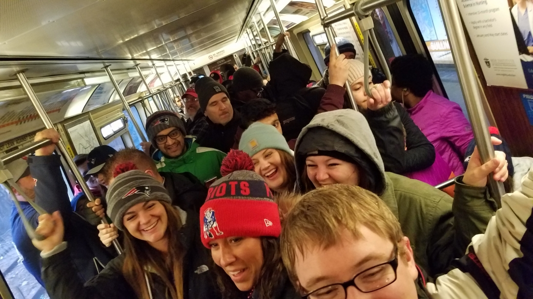 We were packed pretty tightly on the train in to the city!