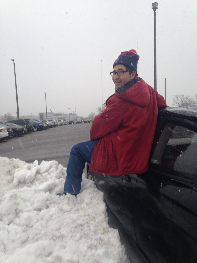 Once we squeezed my car into the teensy parking spot, I had to climb out the window over a snow bank to get out!!!