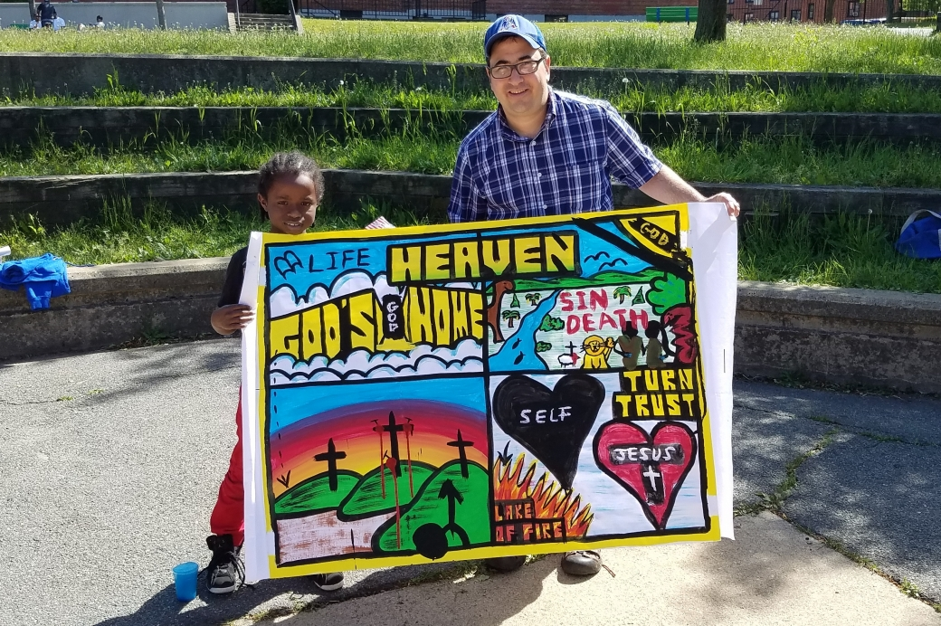 This is Abraham, a sweet kid who wanted to keep my painting. Praise God!