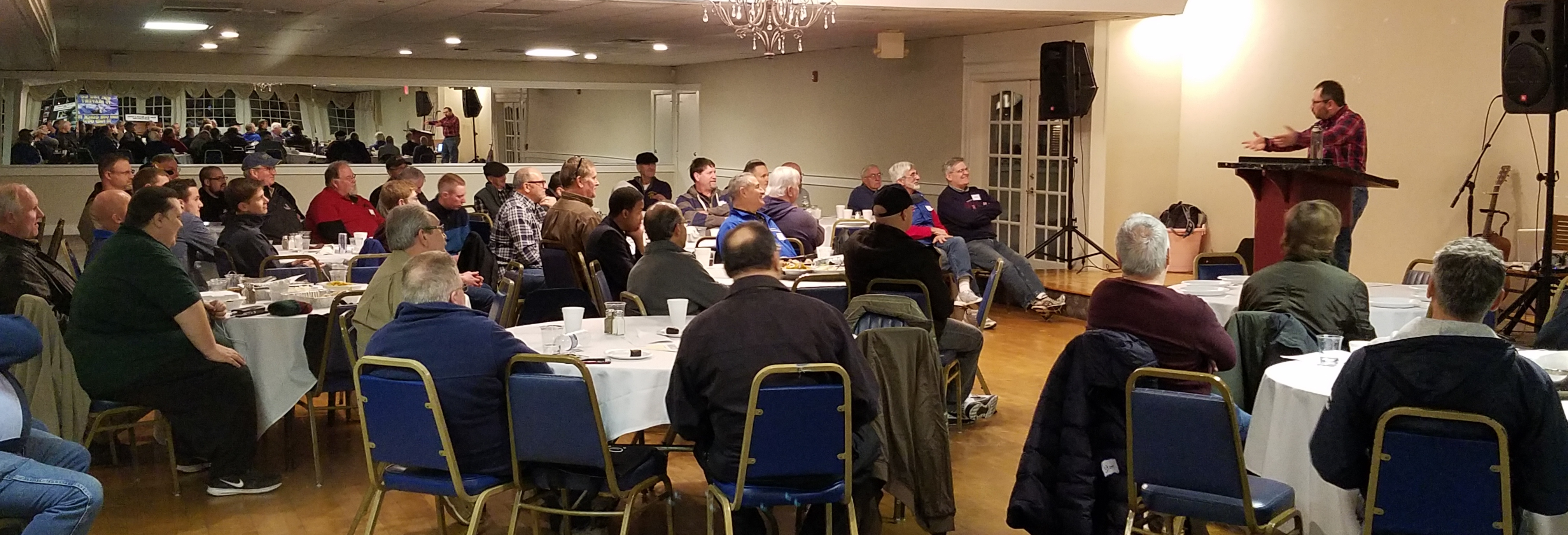 I had the honor to preach to 50+ men at a 'Men's Night Out' event sponsored by Interdenominational Christian Men's Network in Halifax, Massachusetts. This event is meant to be evangelistic - a safe place to bring an unbelieving friend. The text of my message: the book of Hebrews. The message: Jesus is Greater. Greater than what? Jesus is absolutely greater than anything. And when we grasp that, our life will never be the same. Praise God! FYI, the ICMN gets speakers like Josh McDowell and the Chaplain for the New England Patriots, so I'm not sure how I got to be invited.  But I'm glad I was. :)