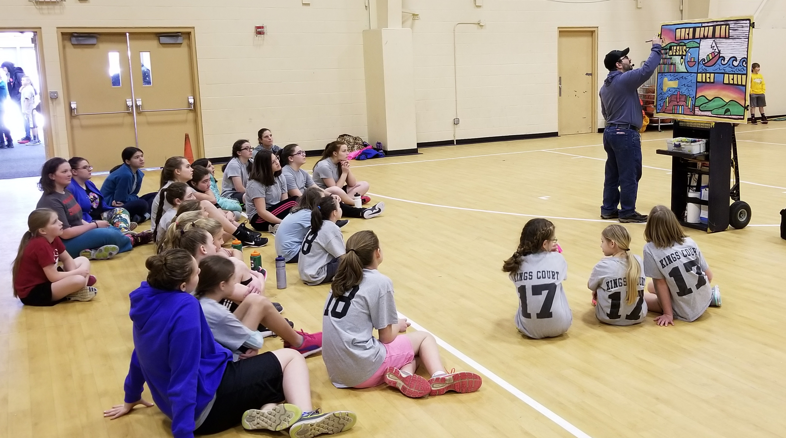 Basketball outreach is a terrific way to reach the community! I was asked by Calvary Bible Church of Derry, NH, to lead devotions for three different age groups. This is the intermediate/advanced girls. Since I only had 15 minutes, and I had 4 weeks, I took the Open Air Campaigners famous paint message, 'Lord Save Me!' and split it up into four parts. Each week I taught a little more. I praise God for the opportunity to reach unchurched and churched kids (and their parents) with the gospel of Jesus Christ!