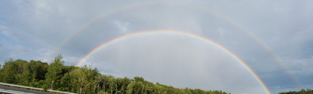A double rainbow on our drive to the beach one night. A reminder of God and His faithful promises!!!