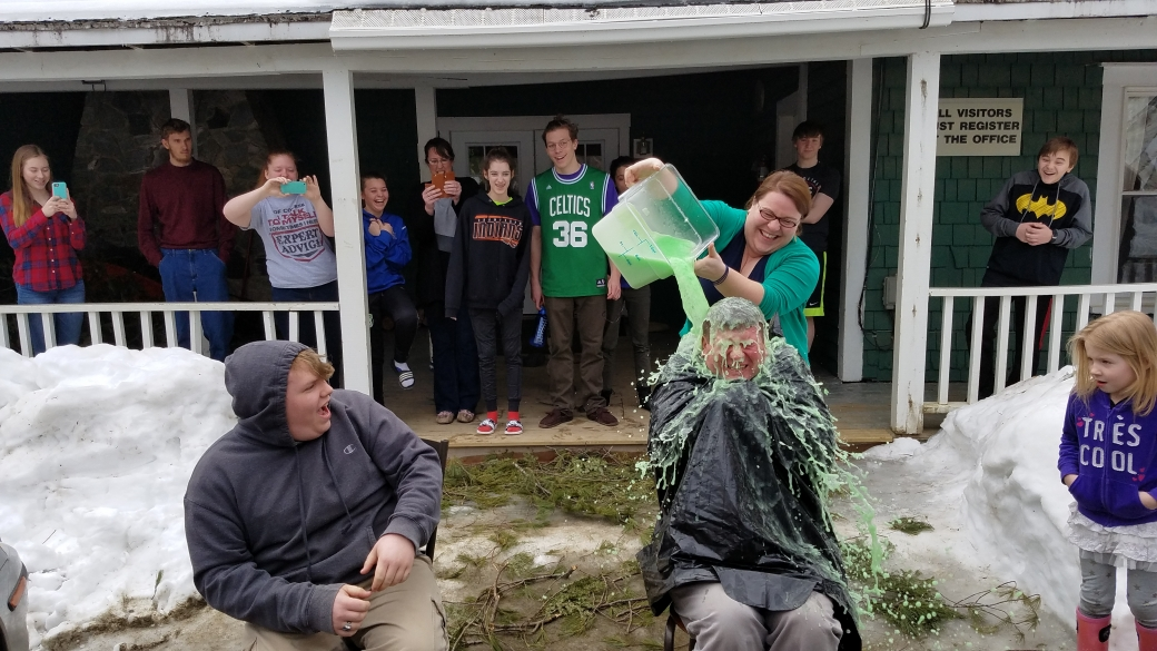 The Students were separated into two teams, and competed in different competitions. The winning team got to choose which Staff Member got to be SLIMED (ICK)!!! Congratulations to Team 2 who chose Phil to get slimed. How lovely!!! :)