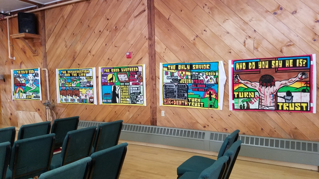 After I preached each message, we hung them on the wall for the students to look at in between events. At the end of the program, we gave them away, which was fun.