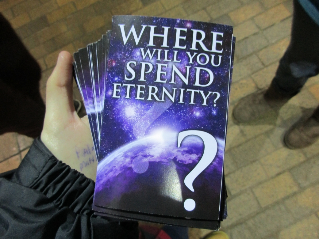 This is a GREAT Gospel Booklet to give out! Not only does it have an easy-to read and Biblically accurate message, but the title leads to one-on-one conversations. When we see someone looking at it, we merely approach them and say, 'Where will you spend eternity? That's a pretty important question. What do you think?' And you're off on a fruitful conversation! :)