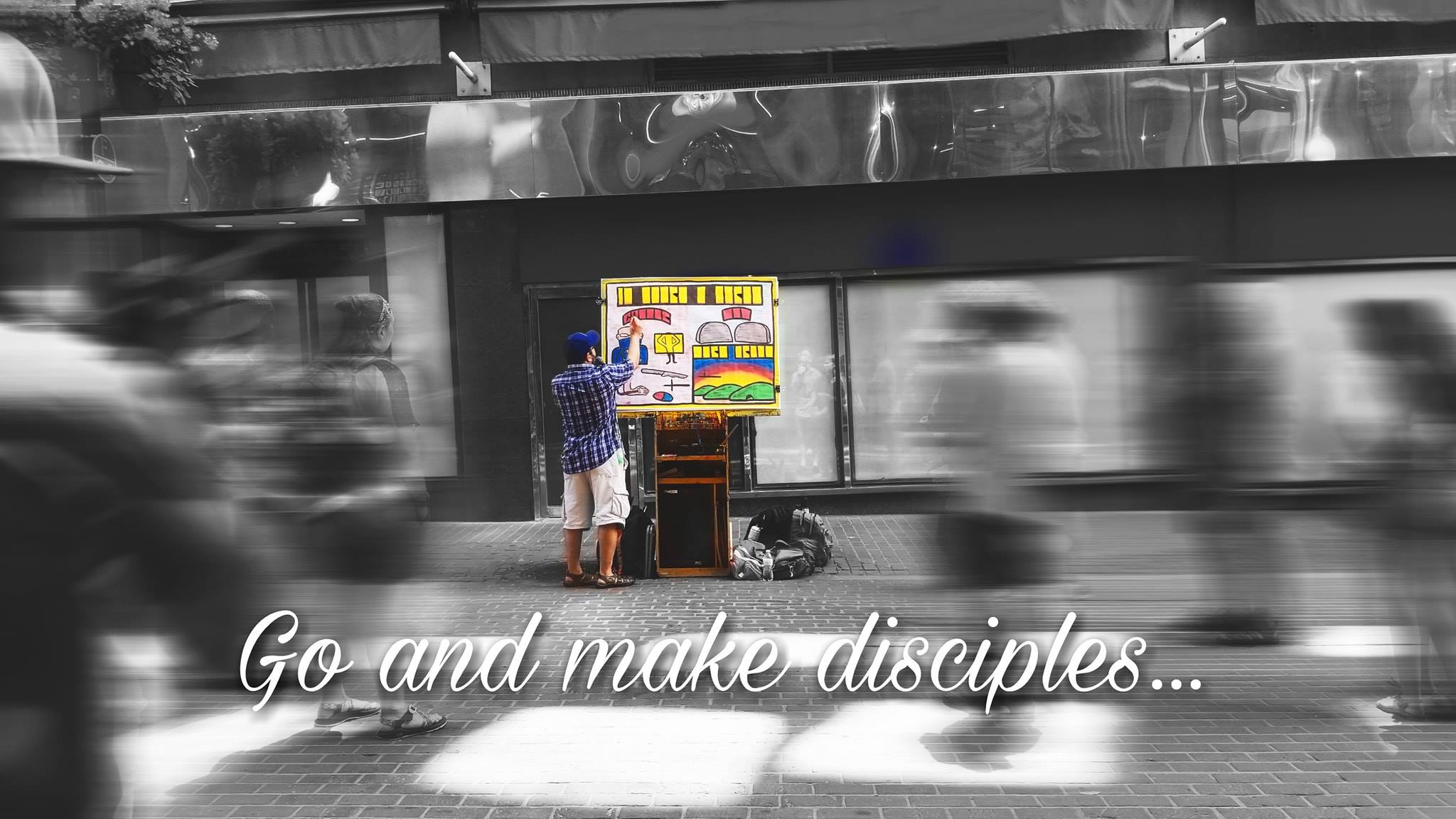Juliana is very artsy. While I was preaching an Open Air message, she took this photo and edited it all fancy-smansy. I'm impressed by her editing skills! Praise God!