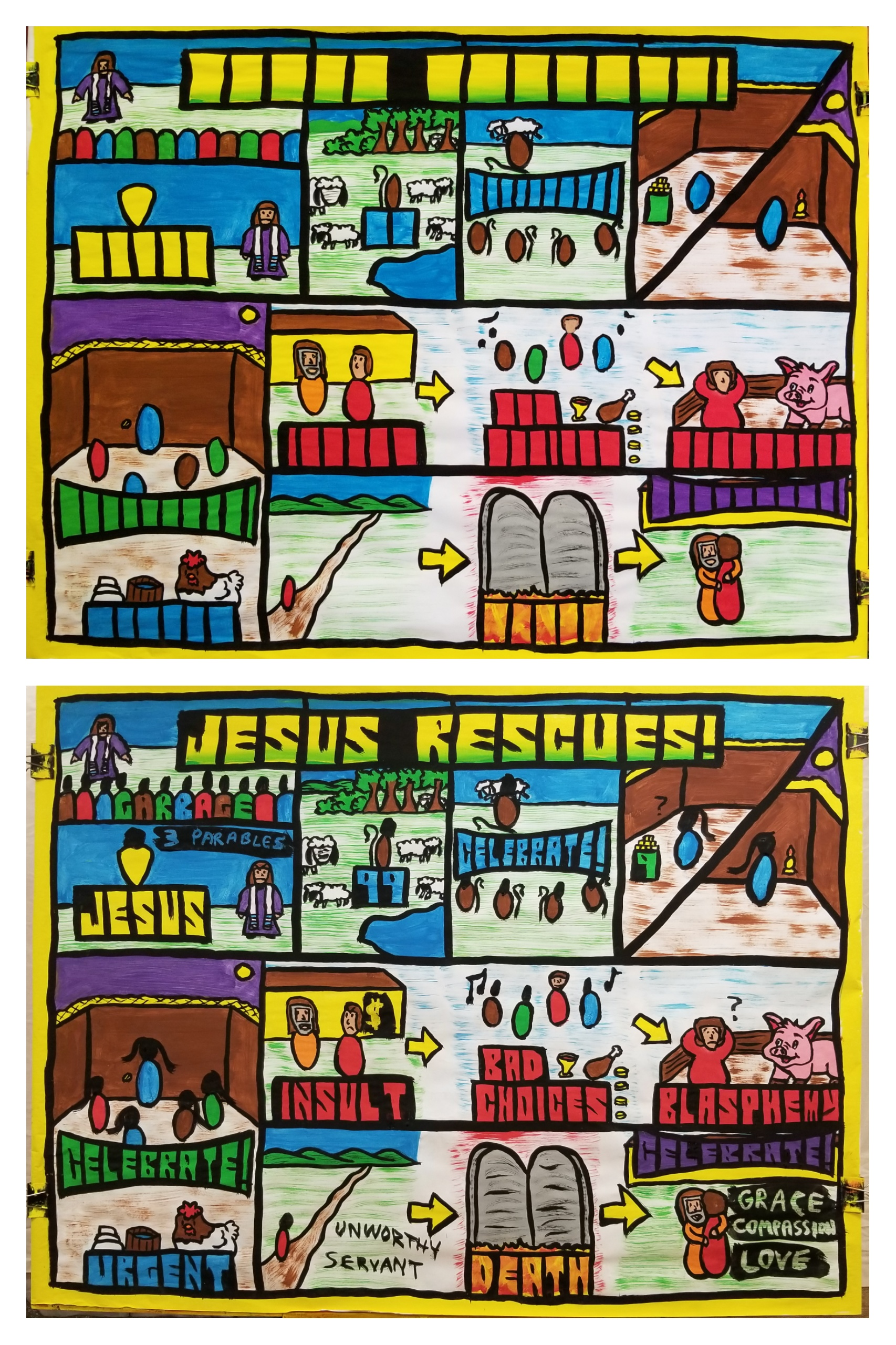 VBS Night #1, 'Jesus Rescues,' from Luke, chapter 15. The Pharisees looked down on people they deemed to be too sinful. Jesus taught 3 parables to shame them and teach them that God enjoys rescuing people. The parable of the lost sheep teaches us that God cares about everyone. The parable of the lost coin teaches that there is an urgency in God's rescuing, and the parable of the Prodigal Son teaches that no matter how sinful you are, God enjoys showing grace, compassion, and love. The kids were great and paid attention so well!