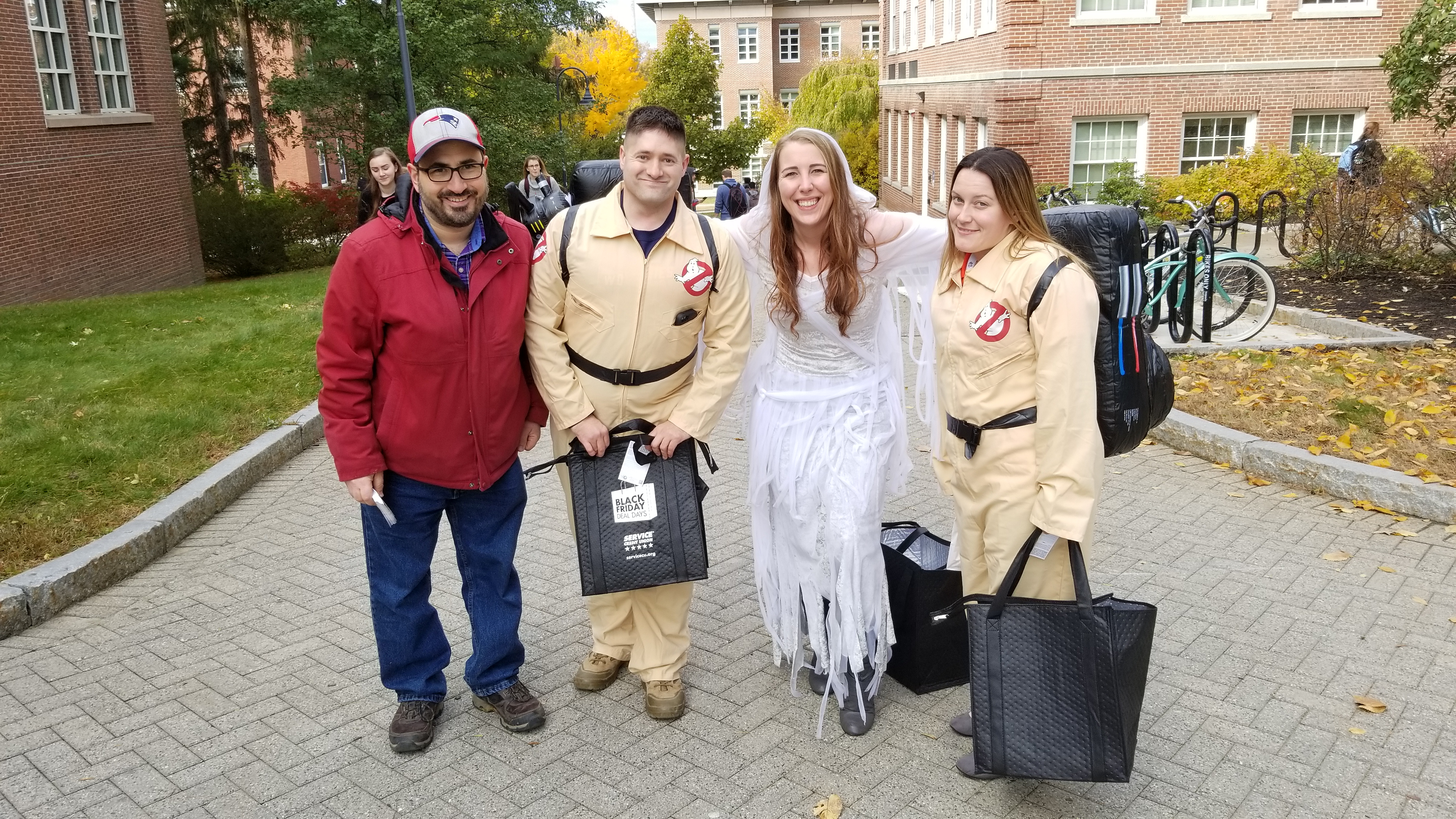 This was Halloween Day. You never know who you will run into on campus. Who you gonna call? Ghostbusters!