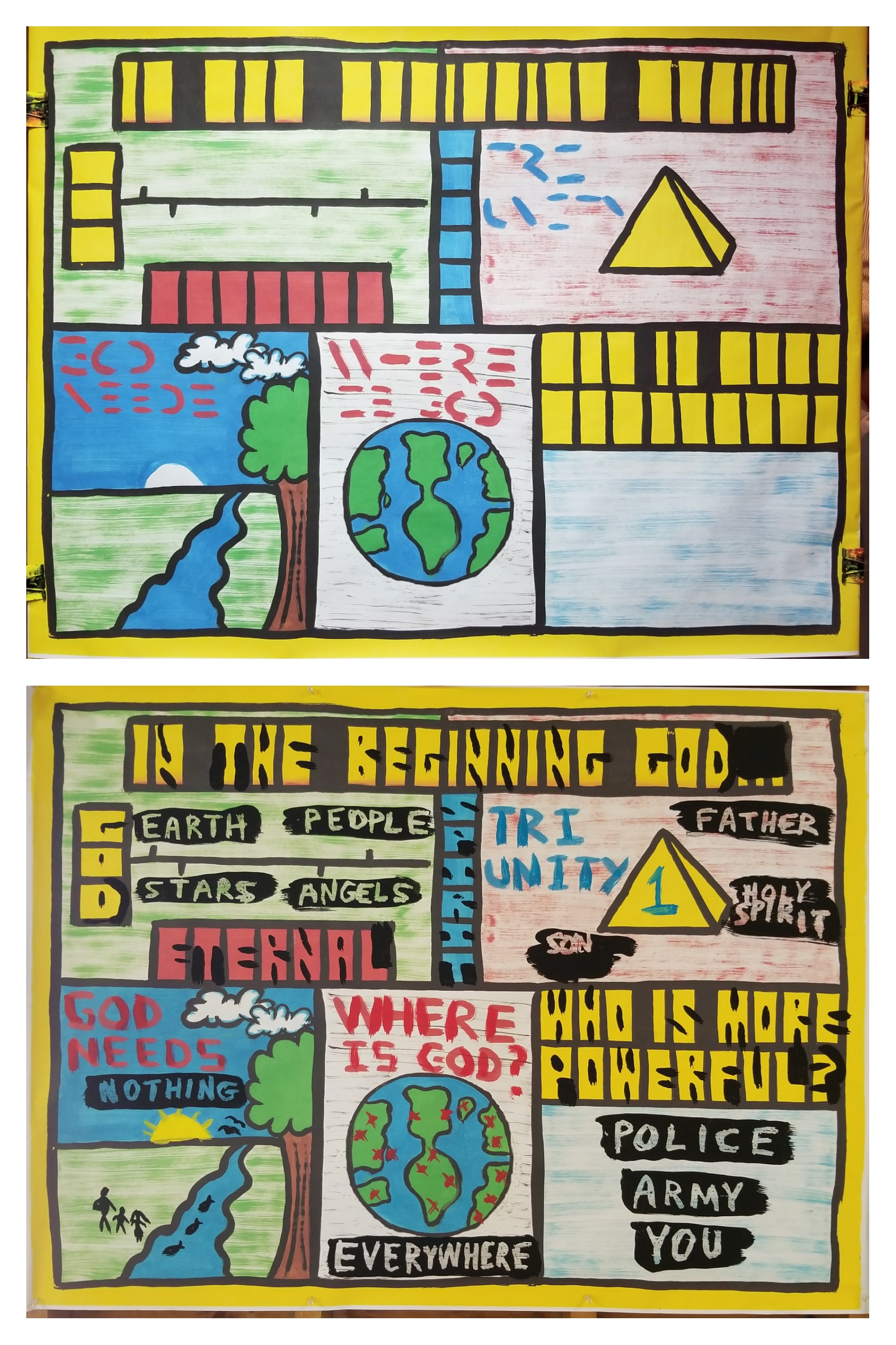 This is part 1 in a 5-day series on 'The Gospel in Creation.' I believe kids are smart and can understand Theology when explained to them. So we learned God is 'Eternal,' meaning He always existed and always will. We learned that God does not have a body of flesh and bones, but is a Spirit. We learned that there is only 1 True God, and He exists in Three Persons: The Father, The Son, and The Holy Spirit. We learned that God does not need anything. He is self-sufficient. We learned that God is omni-present (everywhere at all times), and that God is more powerful that everything! Great Theology there, and the kids really 'got it.'