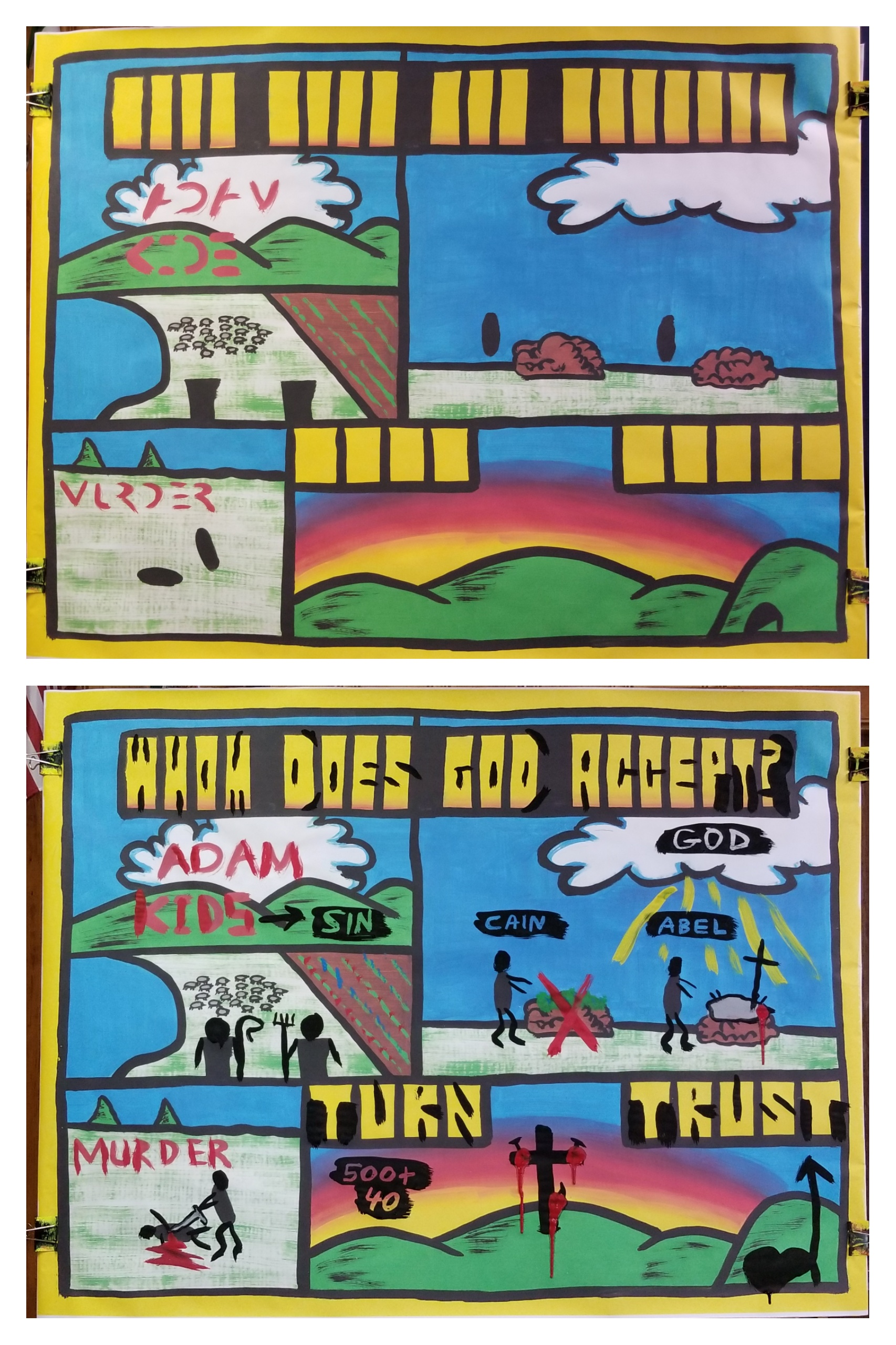 Part 5 in 'The Gospel Through Creation.' We learned that God demanded a blood sacrifice because sin must be paid for with death. Abel obeyed and offered a blood sacrifice in faith. In contrast, Cain did what seemed right in his eyes and gave a produce offering.   God accepted Abel. Cain had the opportunity to admit what he did was wrong, but instead he tragically killed his brother.   Jesus Christ is the fulfillment of the animal sacrificial system. We can be like Cain and do what is right in our own eyes, and get what we deserve - the Lake of Fire. Or we can be like Abel and believe God, and choose a blood sacrifice - Jesus Christ.   Jesus' blood sacrifice covers us if we turn from our sin and trust in the gospel! There was a very clear gospel presentation and everyone was exhorted to turn to Jesus. About 8 Campers indicated that they trusted in Jesus. Praise God! Please pray for the kids who heard this vital message!!!