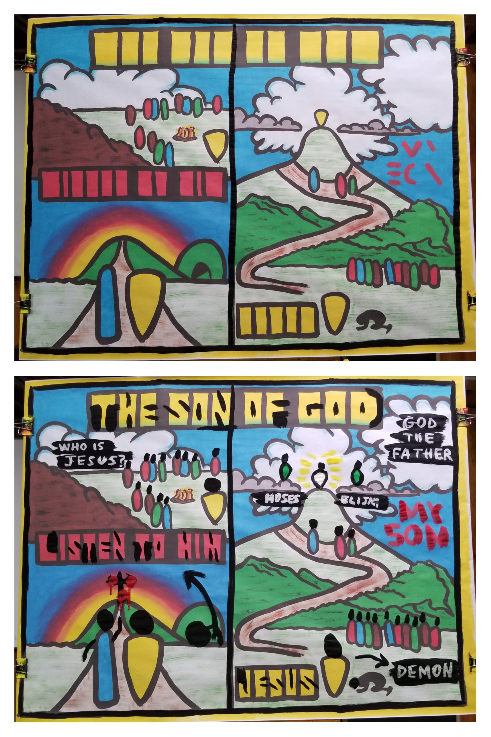 Here's the BEFORE and AFTER of the painting of the first message from this series. We learned what it means that Jesus is 'THE SON OF GOD.' Jesus prophesied His own death. He accurately predicted the manner of His death, the city, and the time. He could do this because He's 'The Son of God.' Then Jesus was transfigured. God the Father Himself declared Jesus to be 'The Son of God.' Jesus also performed miracles. Specifically, He exorcised a demon. Jesus had control over all nature because He is 'The Son of God.'