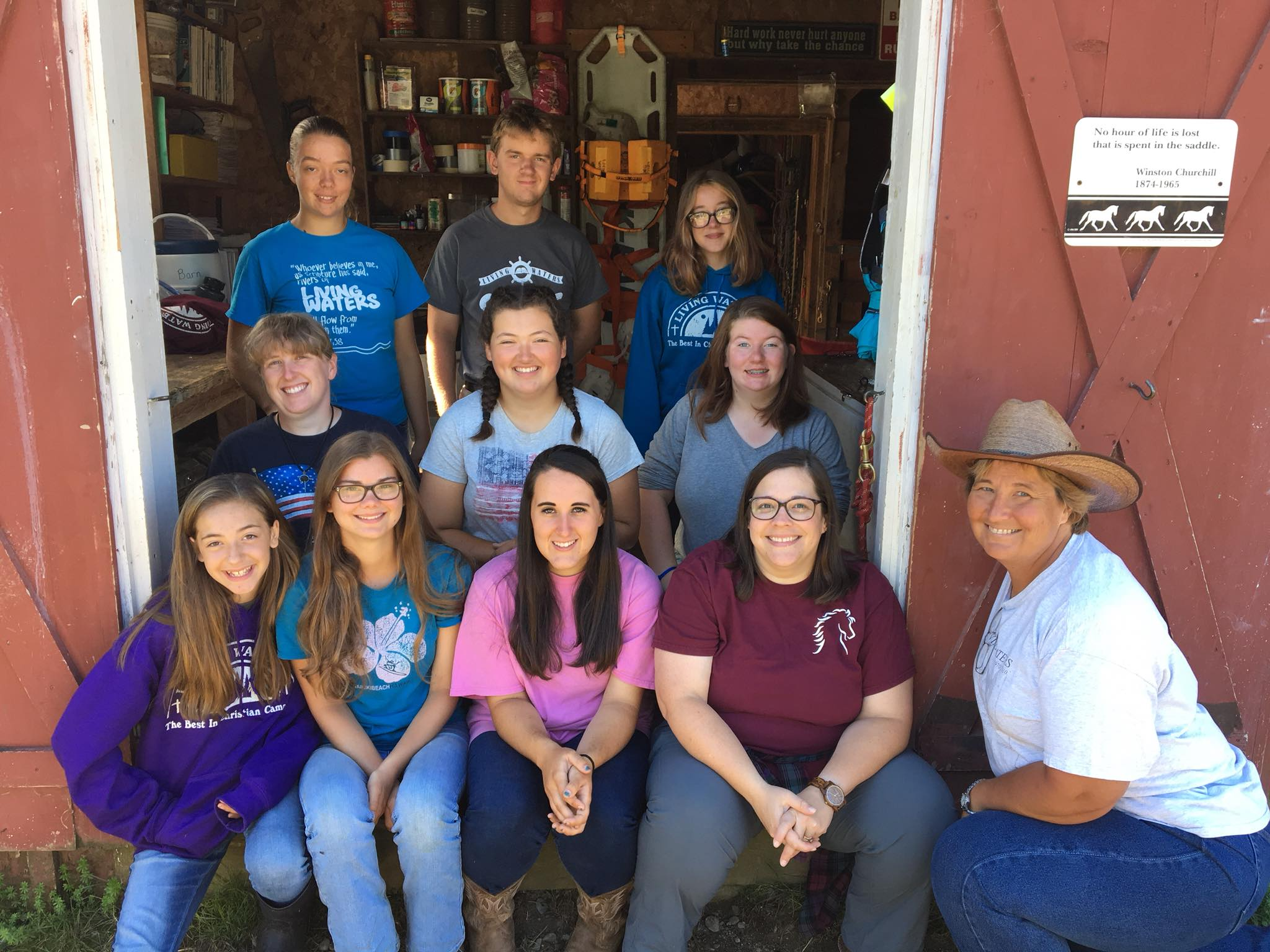 Shelby helped lead the Barn Staff again this year, and Gabriella volunteered as a Junior Wrangler. Somehow Gabriella weaseled her way out of this photo though.