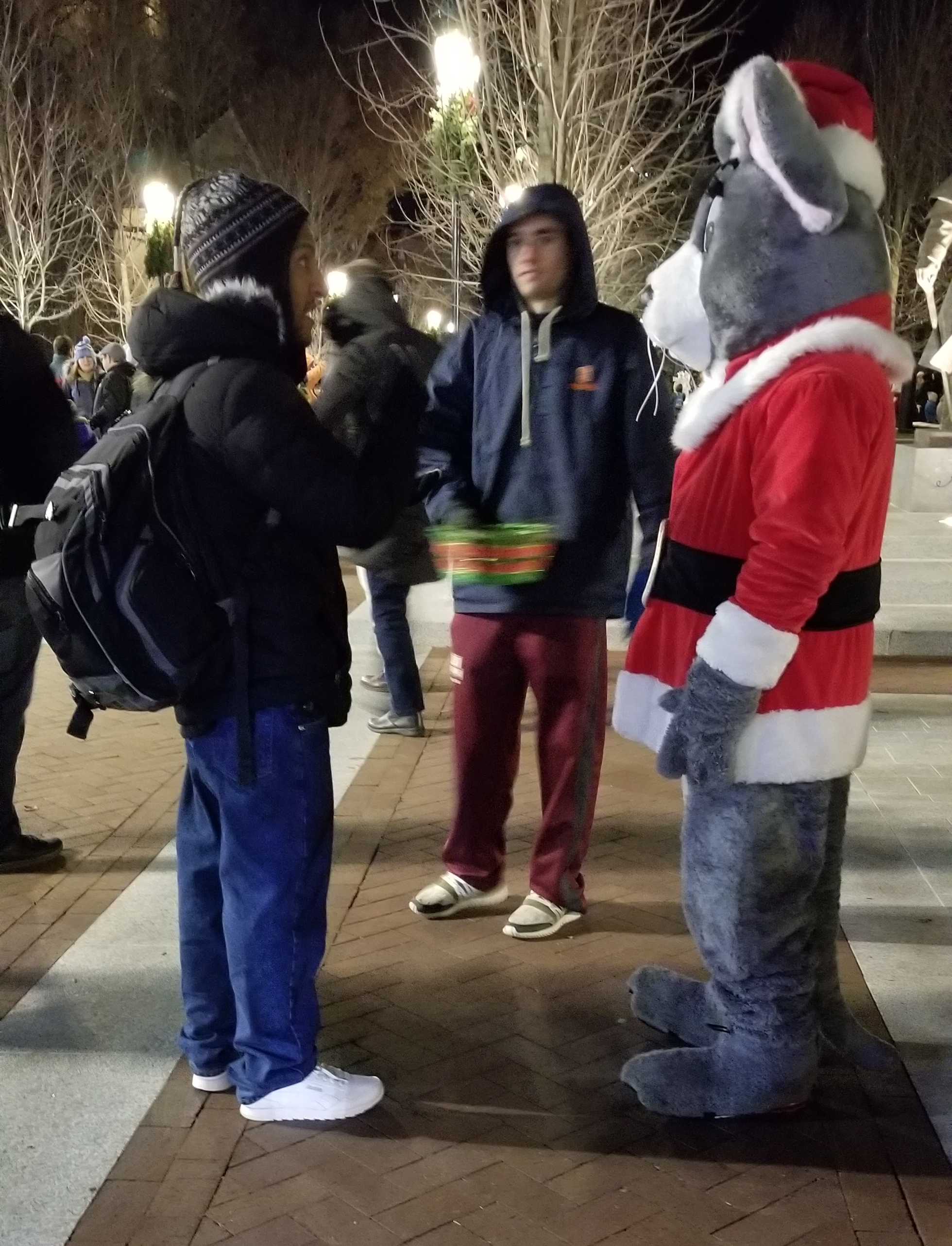 Here's Jay talking with the guy in the mouse costume. They talked about Christ and salvation for over half an hour!