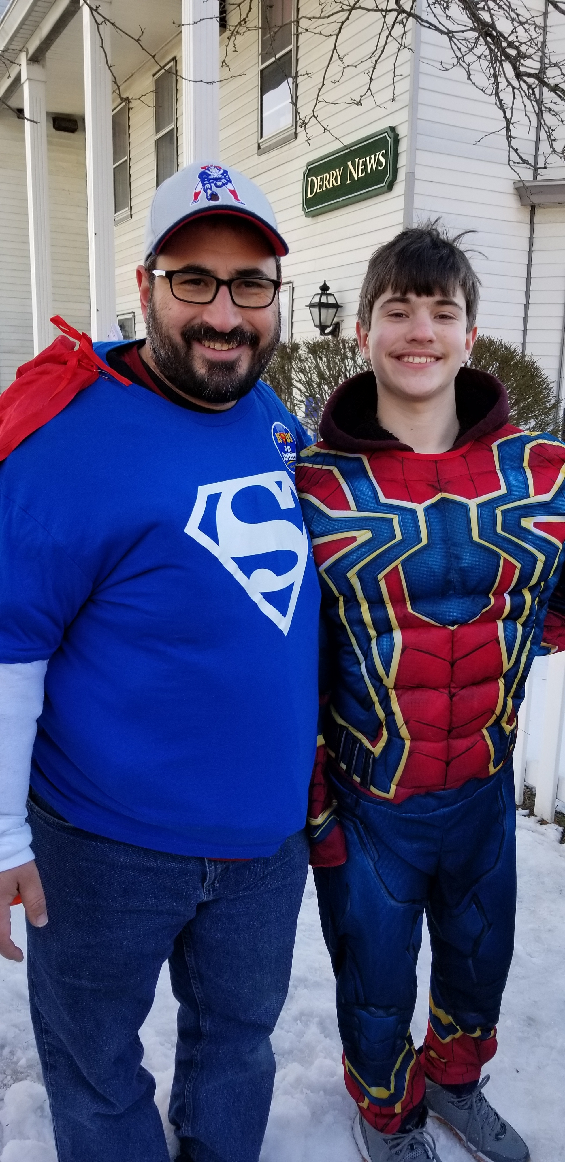 Derry, NH, had a town Christmas Parade and the theme of our Church's float was 'Jesus Is Our Superhero.' My son, Caleb, and I participated by walking the route and handing out invitations to our Christmas Service. Our Church handed out 4,000 invitations that afternoon! Please pray that God will water those seeds and unchurched people will come to Christ as a result!