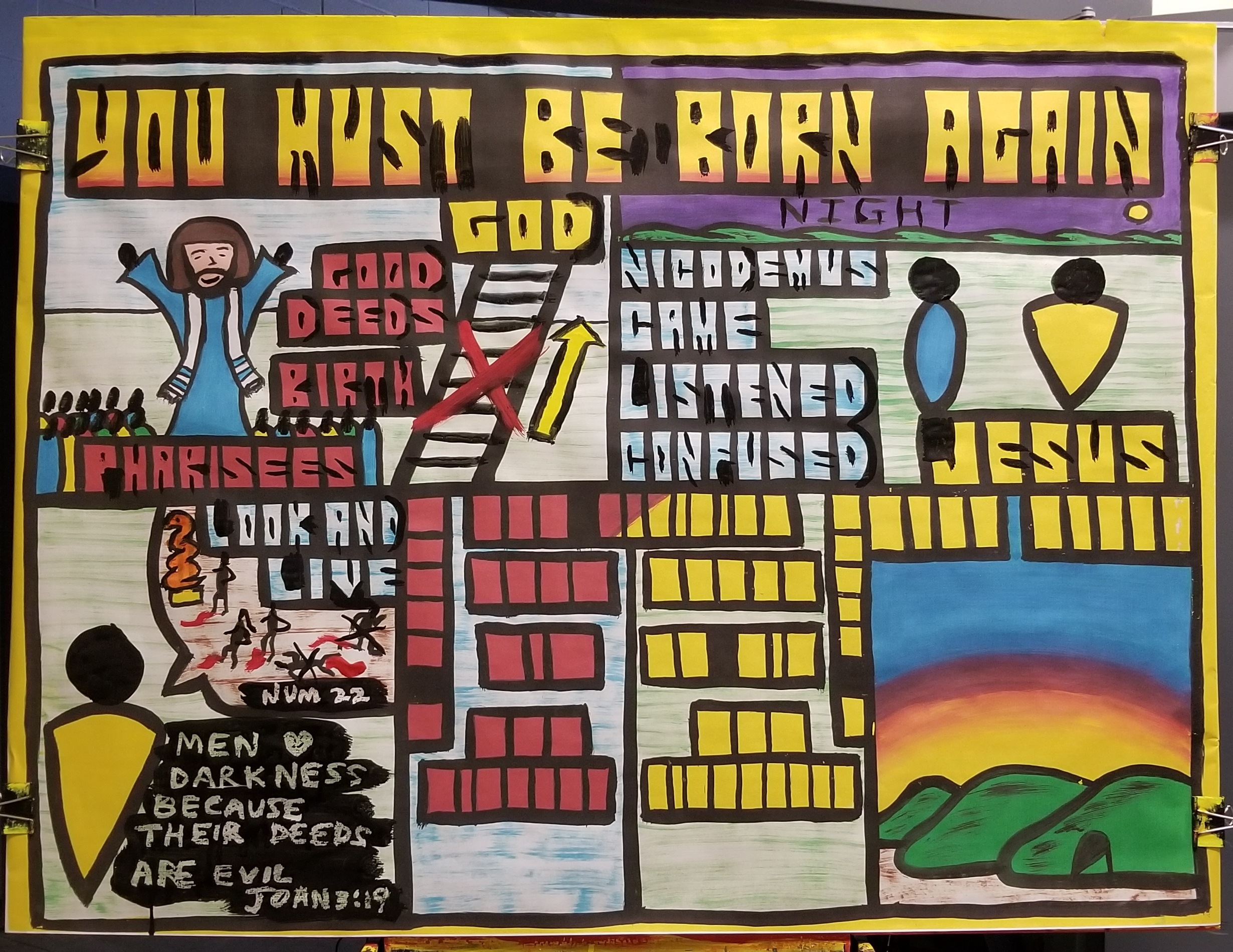 "Week two I taught the top-right quadrant, and the bottom left. One of the Pharisees, Nicodemus, came to Jesus at night. He listened to what Jesus had to say. We listen to Jesus today by reading the Bible. But Nicodemus got confused, just like we do sometimes when we read the Scriptures. You see, Nicodemus was a Pharisee, and we learned last week that the Pharisees believed that you had to have the right birth, and do good deeds, and they believed they had those two. But regarding the right birth, Jesus said, 'YOU MUST BE BORN AGAIN.' Our first birth isn't good enough.  Being Jewish isn't enough. And then Jesus referenced Numbers, chapter 22, when the Israelites were very sinful. Of all the Old Testament accounts Jesus could pick, He chose one that illustrated how bad we are. Jesus even said, 'Men love darkness because their deeds are evil"" (John 3:19). Those good deeds the Pharisees were trusting in... well, they're not very good. Jesus told Nicodemus that his first birth isn't good enough and his deeds aren't good enough. What is good enough to get us right with God? We'll learn that in coming weeks!"