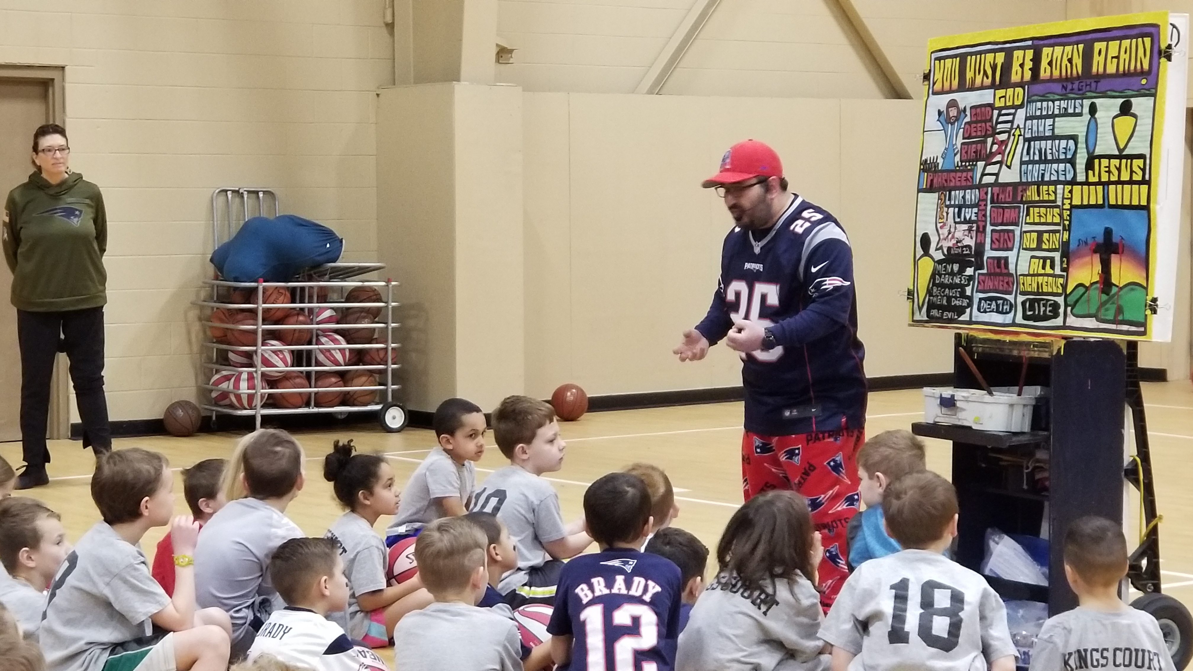 The 4th and final week was the day before the Superbowl, so everyone was encouraged to wear Patriots clothes. That's why I'm dressed like that! :)