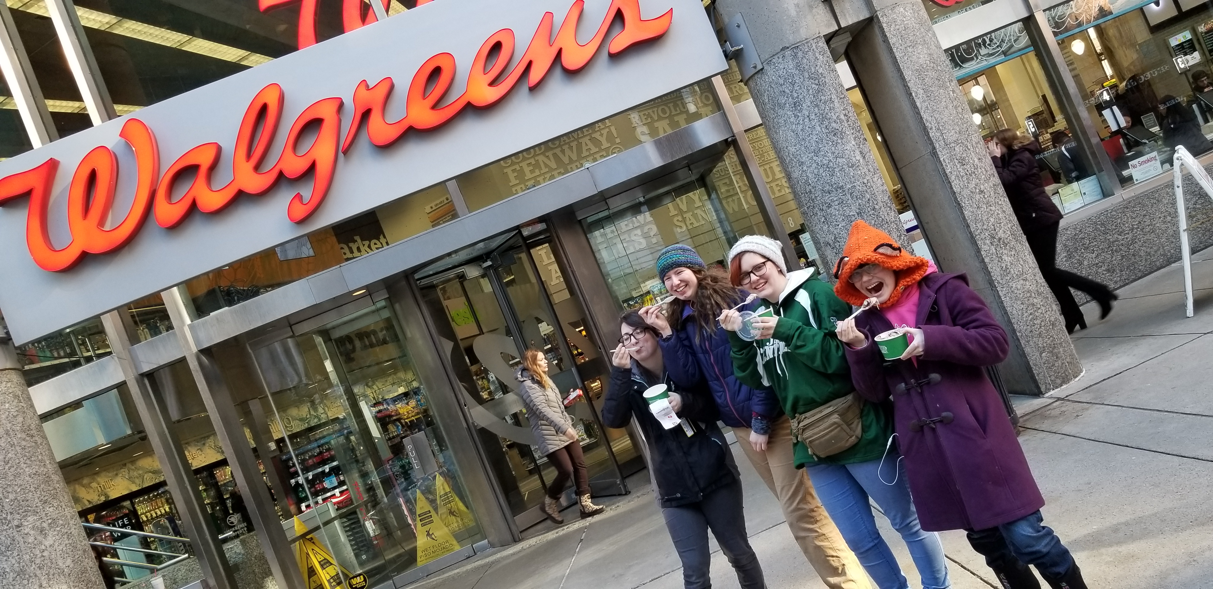 Teens from New Hampshire aren't used to finding a Walgreens with a Frozen Yogurt bar in it. So on a FREEZING day, they get Frozen Yogurt. Crazy Teens.  :)