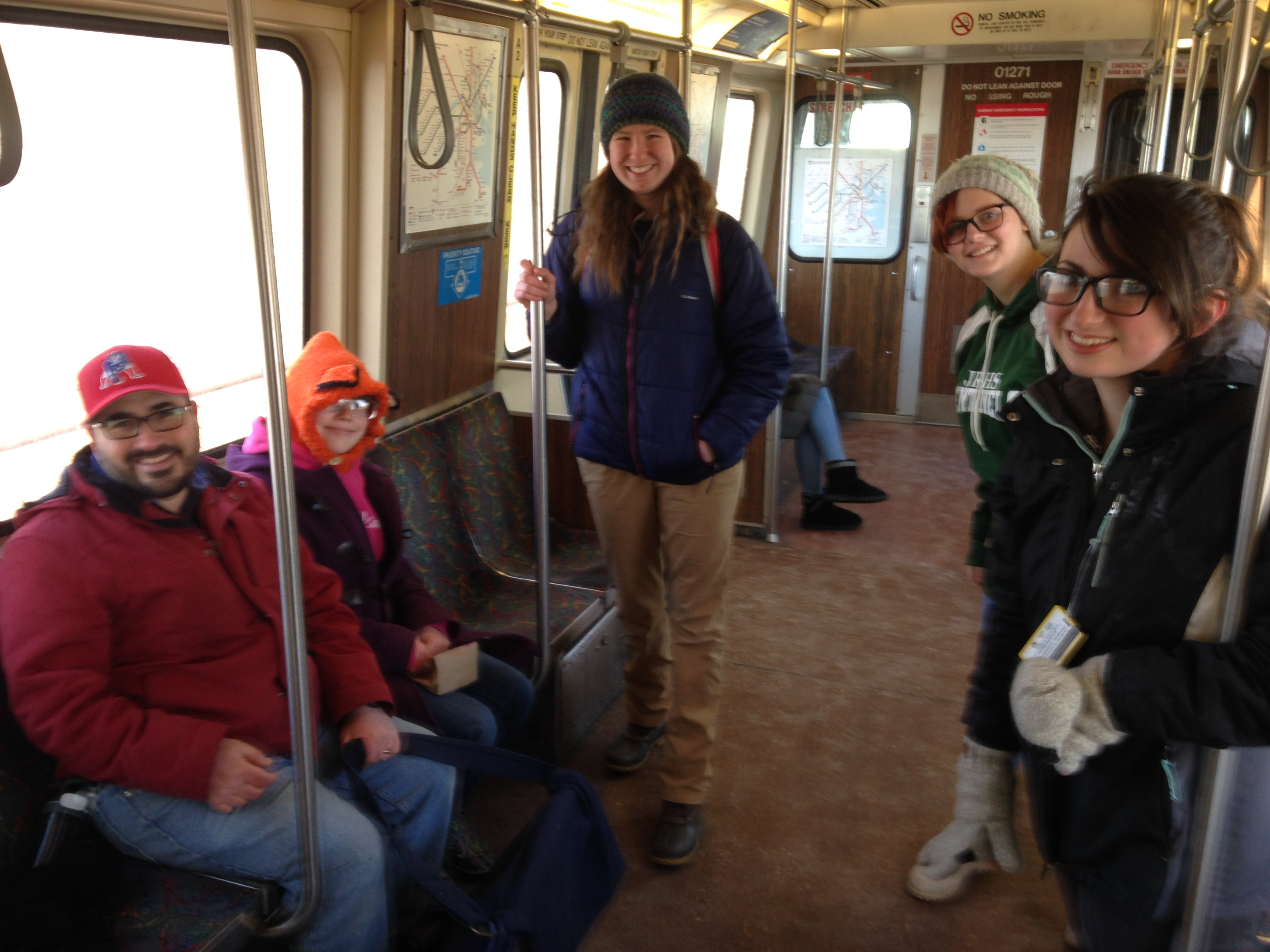 On our subway train ride into the city.