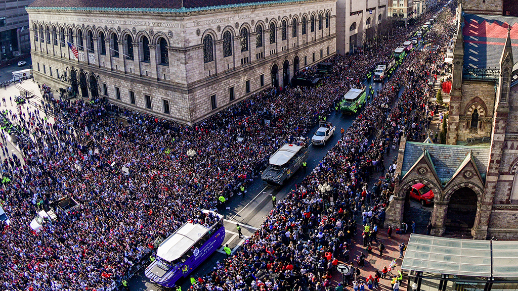 This photo of the parade came from Boston's local CBS affiliate.
