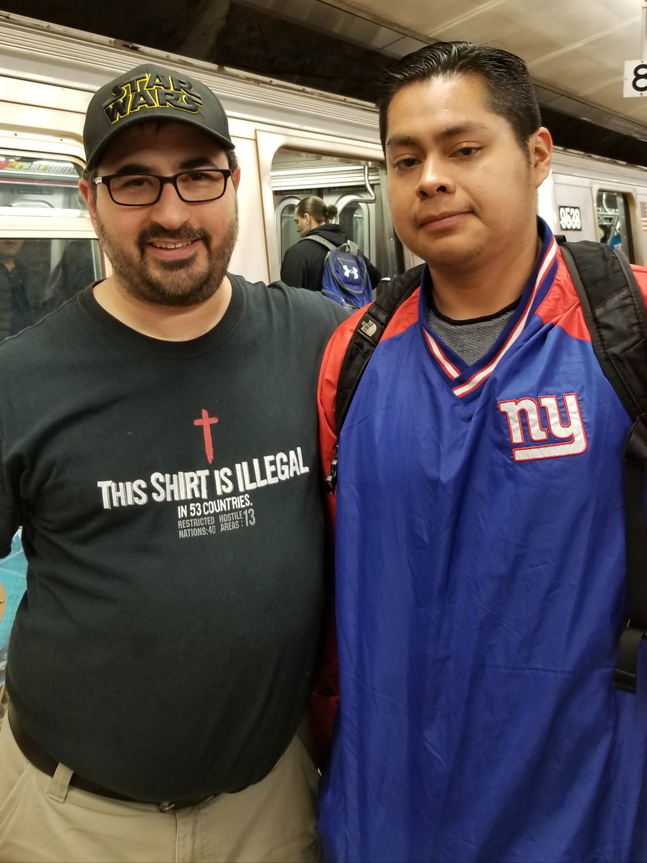 This is Ed, and he really appreciated my open-air message on the subway platform. He's a Christian and he encouraged me a ton. This photo demonstrates the power of God to bridge divides. You see, I'm the World's craziest New England Patriots fan, and Ed here is wearing a New York Giants jacket. Yuck! Yet in Christ we can be friends and brothers. (But I really can't stand the Giants - but I like Ed.)