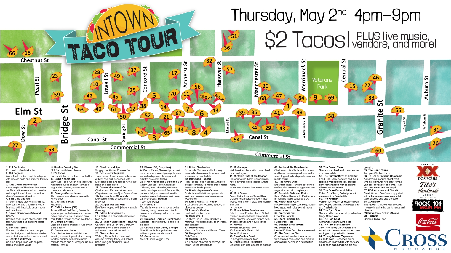 A map of the event, courtesy of the event organizer. That's a LOT of different tacos!
