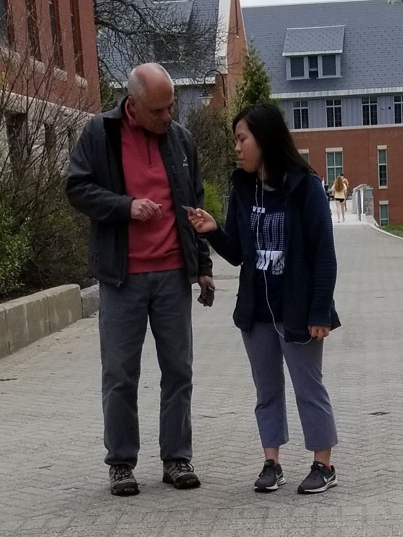 """This is Anna, and she has no religious background at all. Still, Anna said that """"there must be a god."""" Thankfully she and Eric had a great conversation, and Anna left with a gospel booklet!"""