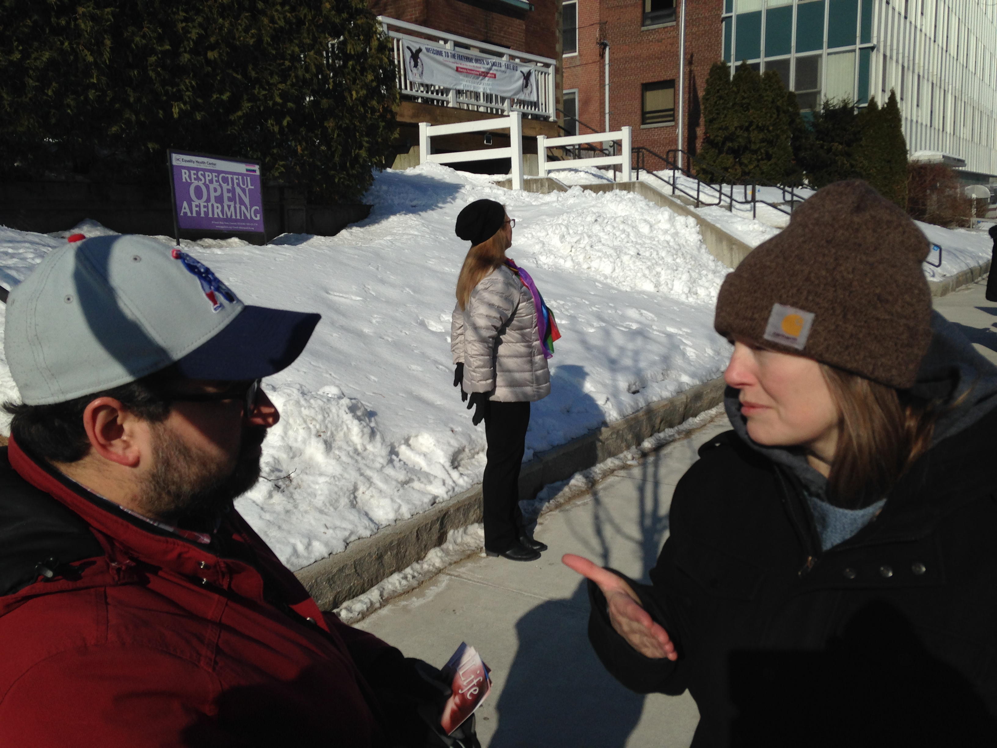 """This is Beth, and she runs a Roman Catholic anti-abortion ministry called """"40 Days for Life.""""  Dalia, the head of the clinic, called Beth and convinced her to come and talk us out of being there. Seriously!   This Roman Catholic woman, Beth, shook hands with Dalia and tried to persuade us to stand there and silently pray, but not offer help, nor talk to anyone.   Beth said that's the right way to do this. Seriously?  No wonder Dalia likes Beth. Beth doesn't reach out to the Moms. She just stands there with a large poster of Mary around her neck.  The clinic will do ANYTHING to silence the truth that babies don't have to die, and young vulnerable Moms don't need to be injured."""