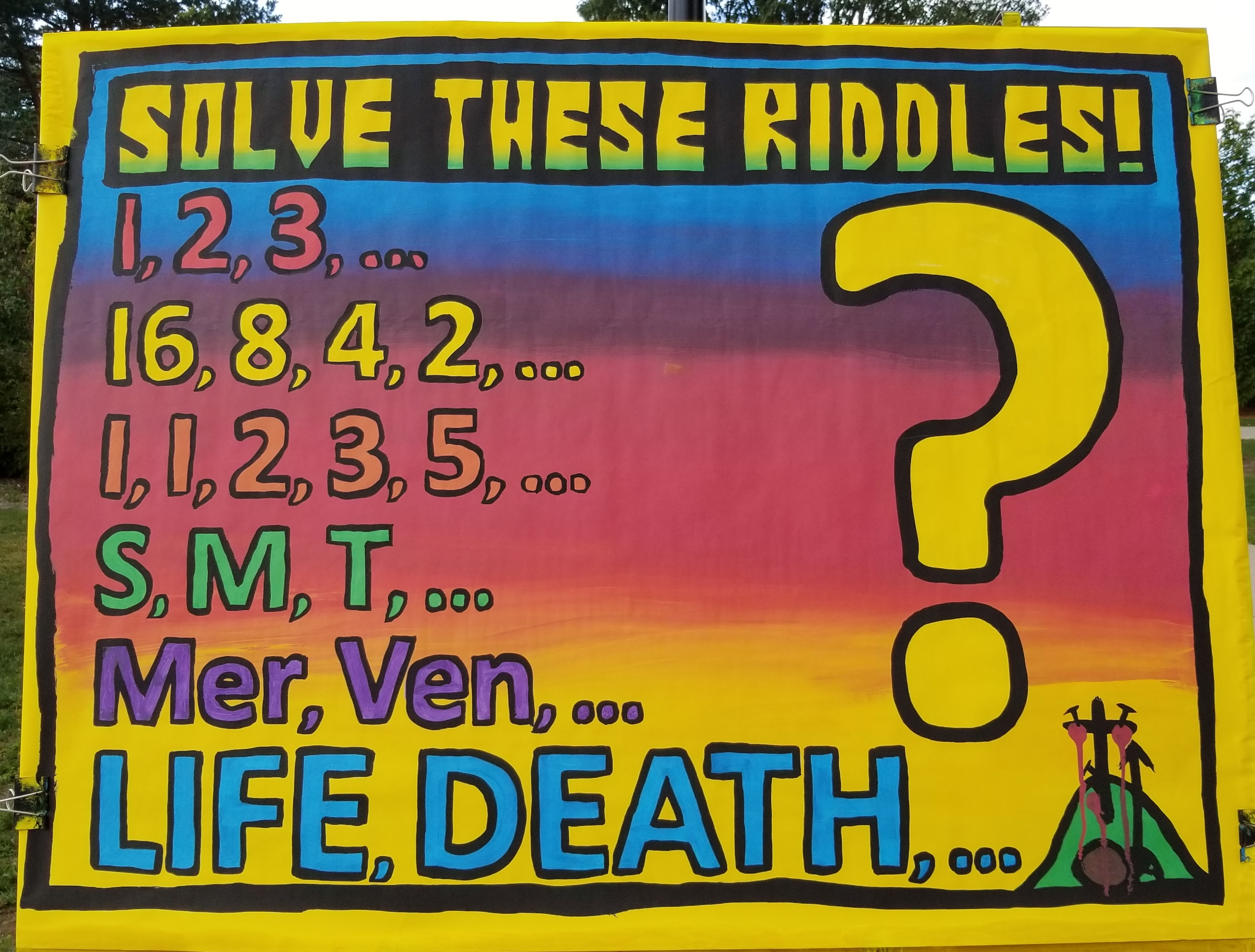 "This is a brand-new Riddle Board we've been using to great success.  For each line, you ask the student ""what comes next?""  Can you get the answers?  Here they are...  Red line: 4, Yellow line: 1, Orange line: 8 (this is called The Fibonacci Sequence), Green line: W (days of the week), Purple line: Earth (planets from the sun), and then the most important one...  Life, Death, then Judgment. And we know this is true because Jesus died on the cross and rose from the dead. It's a TERRIFIC lead in for a gospel conversation!"