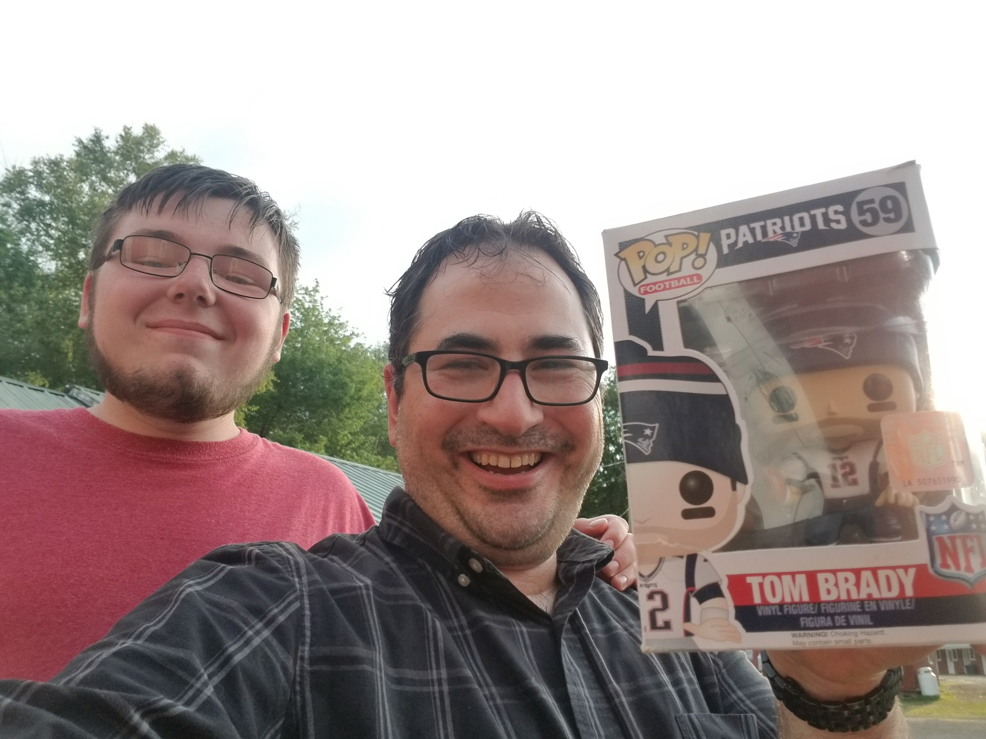 This is Jesse, and he's my FAVORITE Camp Counselor. Want to know why???  He got this WICKED AWESOME TOM BRADY Funko Pop for Christmas, knew I'd like it, and saved it for me for 7 months and gave it to me on the first day of Camp. Wow!  Was I willing to accept such a gift from a teenager? You betcha!!! :)