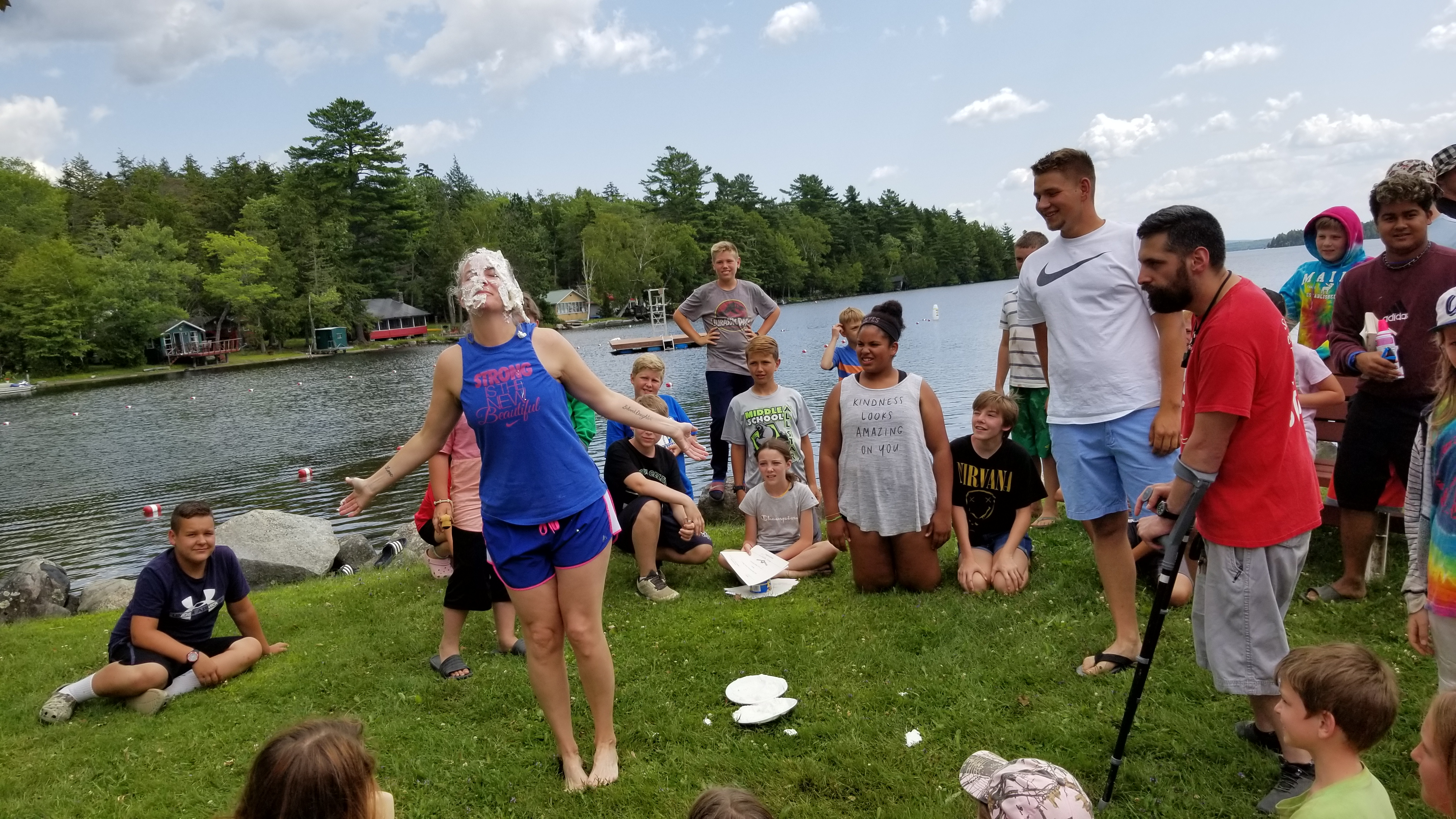 The Campers competed against each other all week, and the winning team got to decide which Camp Staff has to get a pie in the face. Shawna won (or lost - depending on how you look at it.) But Shawna was a good sport about it!