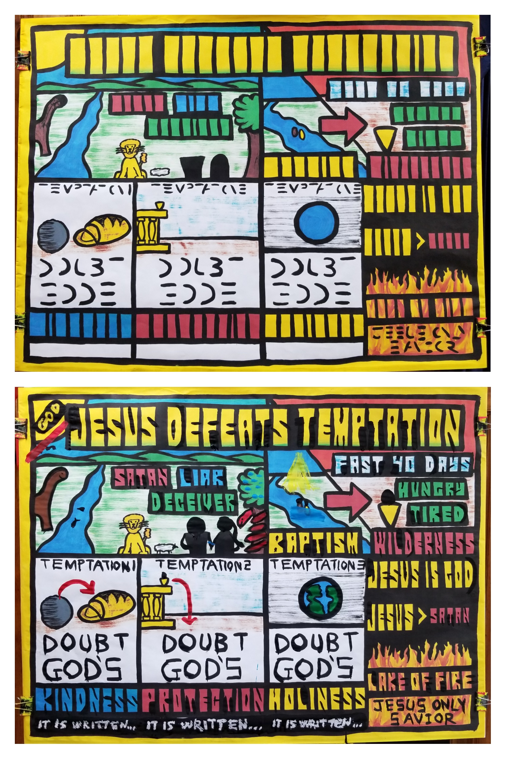 "Part 2 in a 5-part series on ""The Early Ministry of Jesus."" Here are the ""BEFORE"" and ""AFTER"" paintings.  We learned that ""In the Beginning"" Satan successfully tempted Adam to sin, with disastrous consequences.   Adam was humanity's representative, so all of us are under sin.   After Jesus' baptism, Satan tried to temp Jesus to sin. Jesus fasted for 40 days in the wilderness and, in His humanity, was hungry and tired.   Still, Jesus, being perfect, successfully defeated Satan's temptations, each time using Scripture to thwart the enemy.   What Adam couldn't do, and what you and I can't do, Jesus did! JESUS DEFEATED TEMPTATION!  Jesus is God, and greater than Satan. Satan is destined for the Lake of Fire, and so is anyone who belongs to Adam's family. Jesus will be our Deliverer if we are adopted into His family. How do we get sorted into Jesus' family? We'll find out in upcoming lessons."