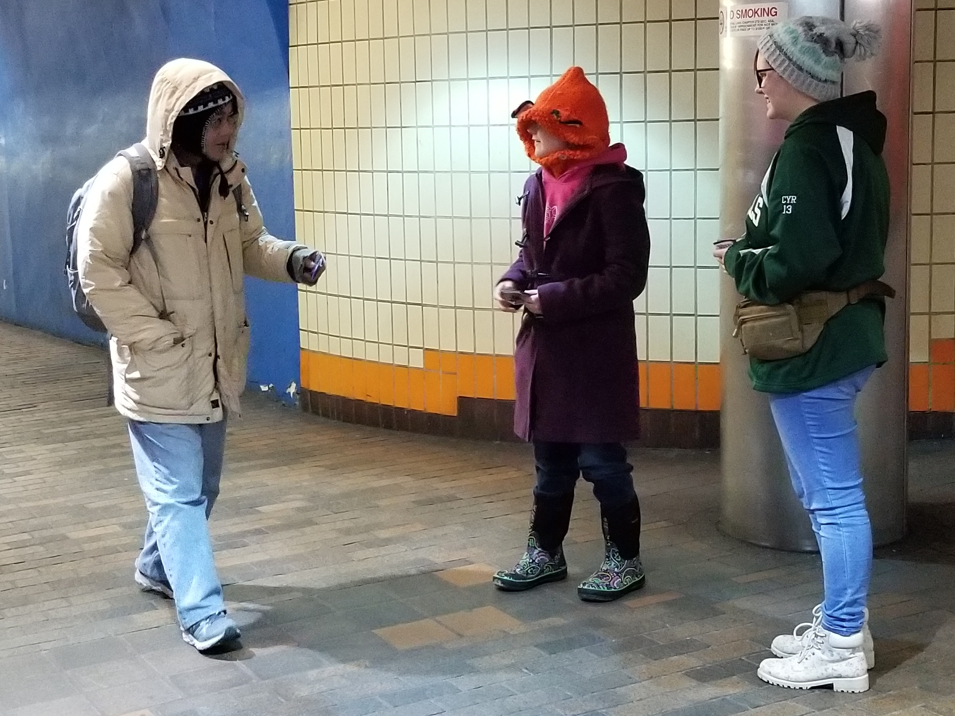 My own daughter, Juliana, and her friend, 'K,' handing out tracts in the subway.