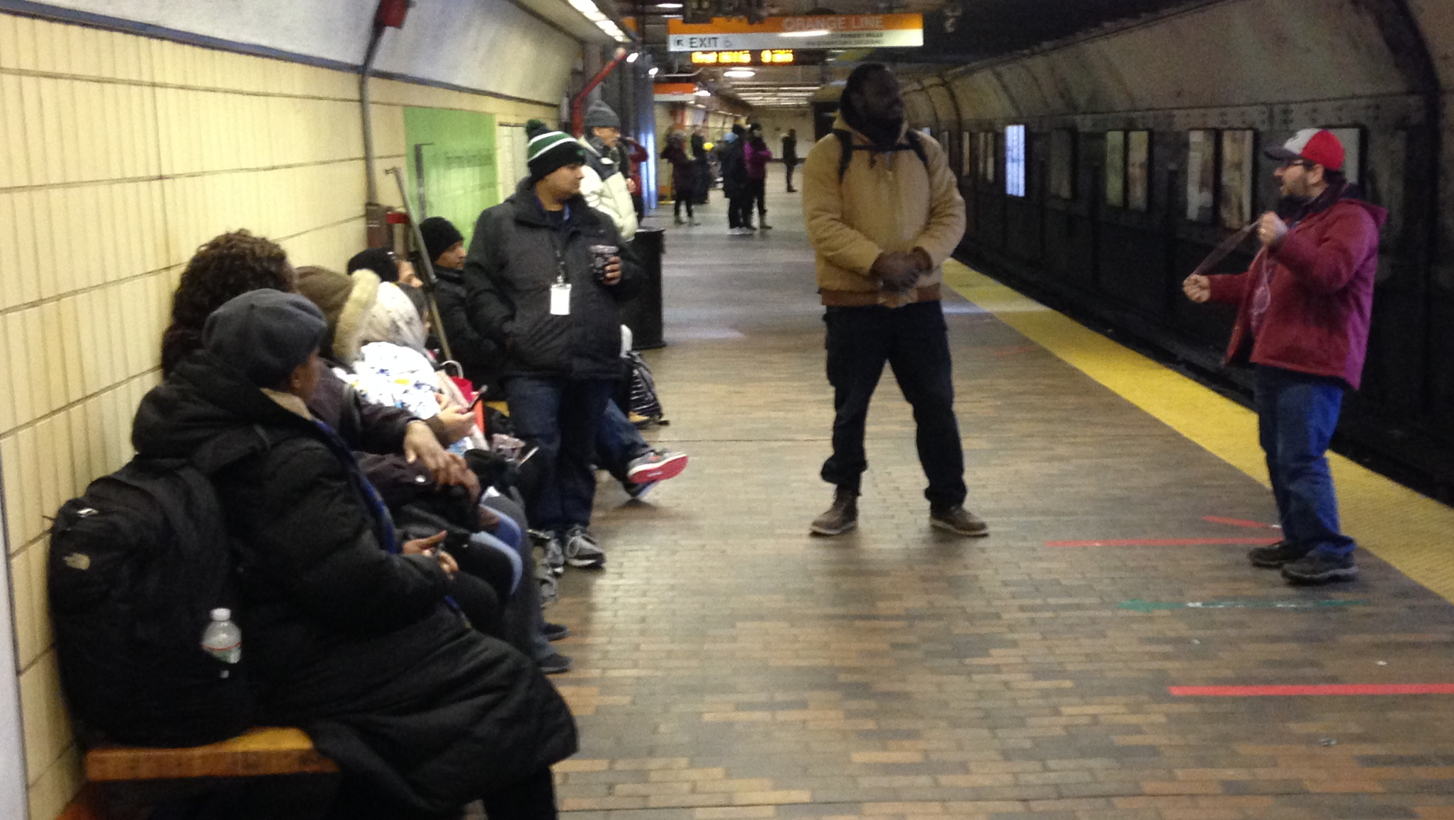 You never know what's gonna happen in the subway. I had just begun an open air message when the gentleman in the beige coat stood in between me and the people and started SHOUTING! His name is Dowuda and he is a member of a dangerous cult called 'Black Israelites.' He wouldn't let me get a word in by his constant yelling at the people. Yelling that I'm 'of the devil' because I'm white. I did manage to tell him that I'm Jewish, but he told me I'm a fake Jew. All Jews are fake Jews, he said. He yelled to the crowd that only Black people are true Jews. Jesus, Moses, Abraham, were all Black.  (More details below...)