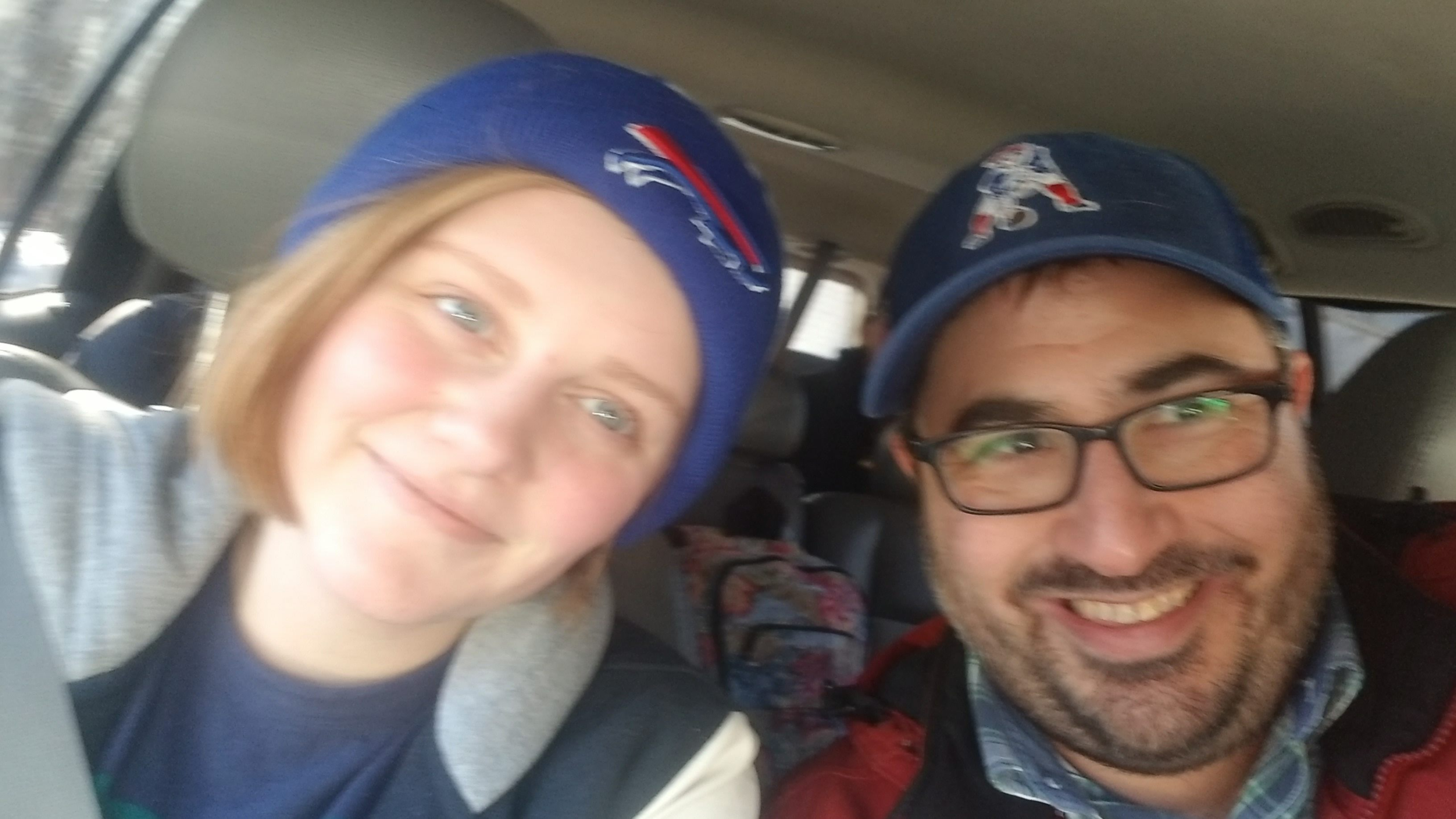 "What an embarrassment! Did K seriously wear a ""Buffalo Bills"" hat on her way into Boston??? Seriously? Well, there's grace for that. :)"