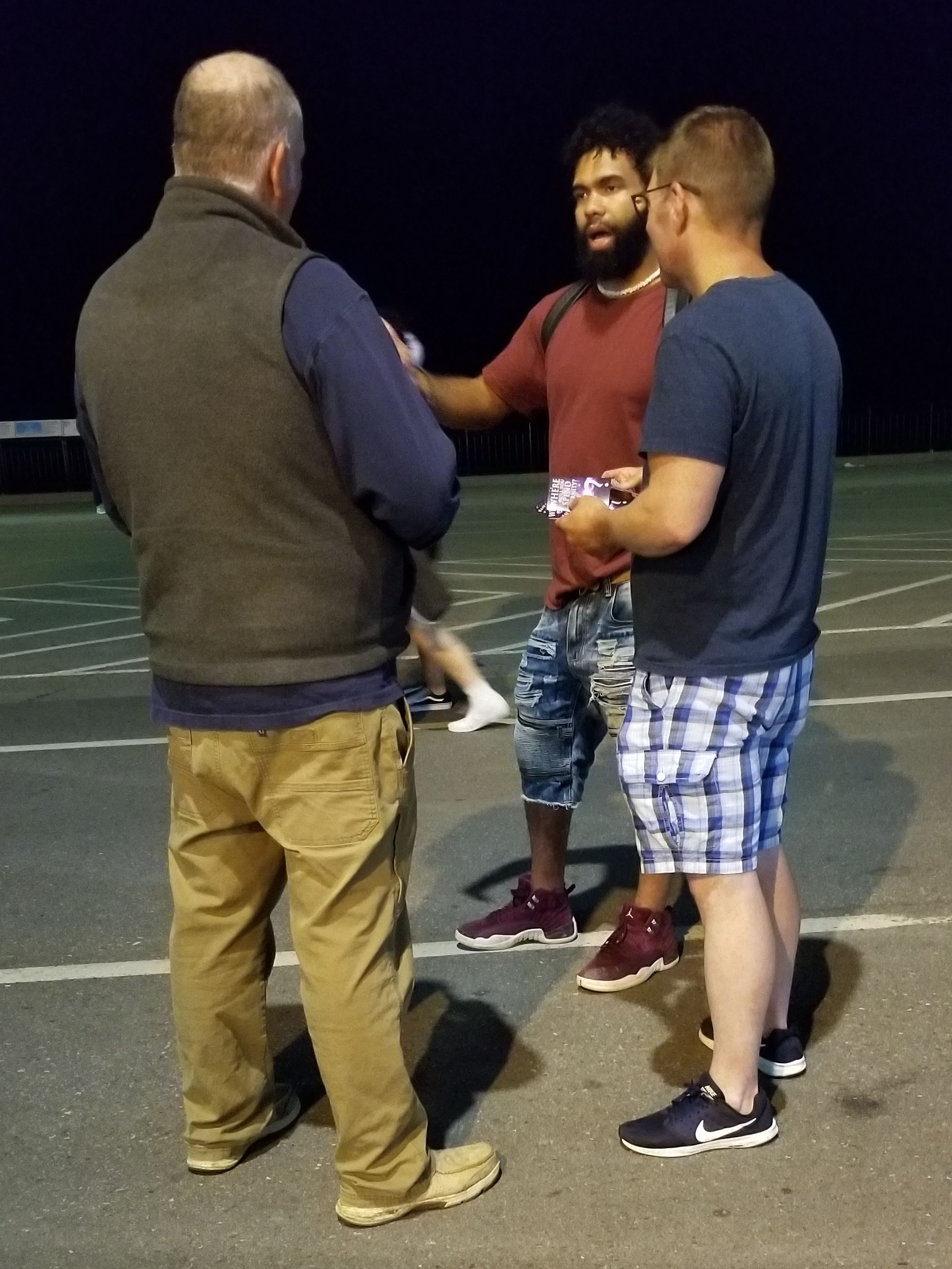 This is Ishmael, and he had a looooot of questions. Chip and John had a very long discussion with him.   But this is cool: a local Pastor overheard what was going on and joined in. The three of them prayed over Ismael for God to reveal himself to him.