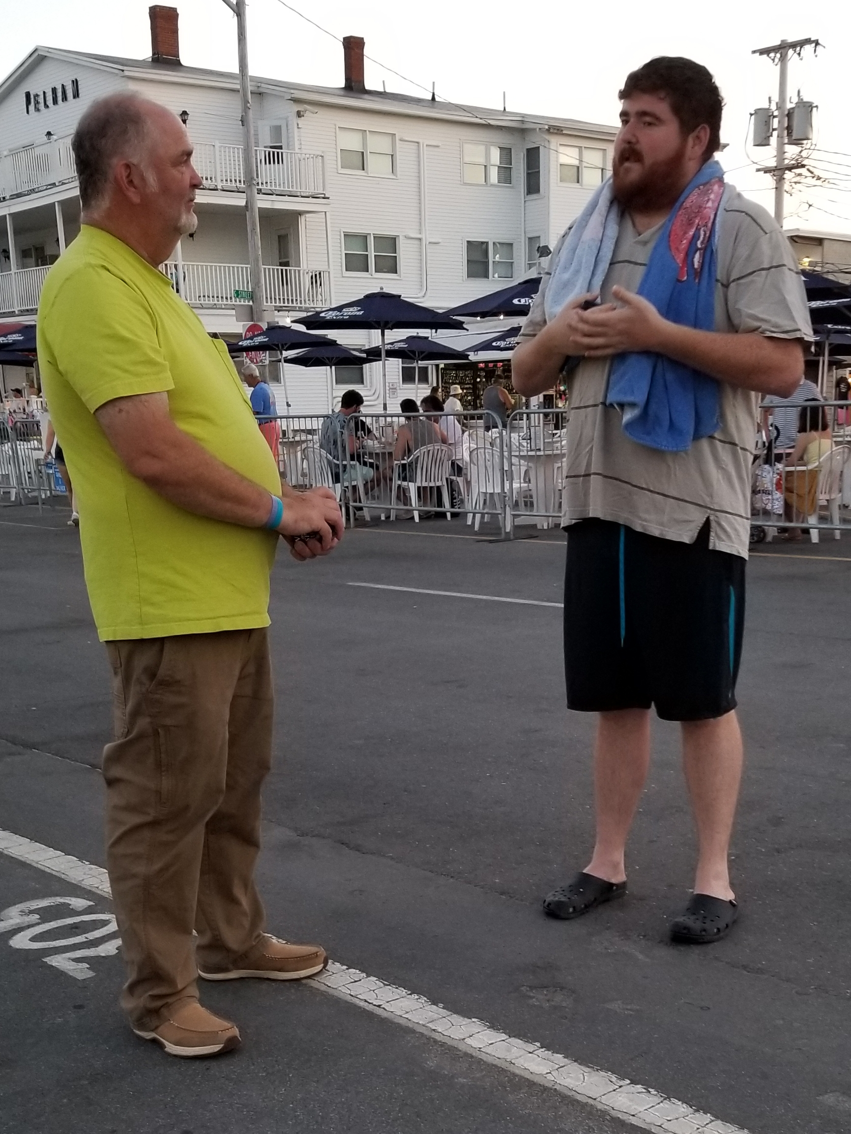 "This man (on the right) speaking with Chip was an anomaly. Chip had me come talk with him because the man said he was Jewish.  So he and I spoke for a half hour or more. When I told him I'm Jewisht and through studying came to be convinced that Jesus is the Messiah, he assumed I was joking.  Then he said it would only be okay for me to say I believe in Jesus if I'm making money off it. I told him I left a high-paying job as an Engineer to be a Missionary, so, nope, not in it for the money.  I follow Jesus because He's true.  By the way, the man wouldn't give me his name, so in this update I'll call him ""the man.""  The man said the Hebrew Bible is perfect, ""so why would I follow the New Testament?""  I reasoned with him that all you need is the Hebrew Bible to find Jesus. I even had him open a Bible right there and read the end of Isaiah 52 through Isaiah 53.  He didn't know what to make of that. I told him, ""It's really really obvious, but you might not like it.""  Understand, this man is unusual. The great majority of Jewish people don't consider The Hebrew Bible to be perfect, or even written by God. Most Jewish people are secular in their beliefs. So for him to say he agrees with Moses is unusual.  I reminded him that Moses said that we must have a blood sacrifice for the forgiveness of sin, ""for the life of the body is in its blood. I have given you the blood on the altar to purify you, making you right with the LORD. It is the blood, given in exchange for a life, that makes purification possible"" (Leviticus 17:11).  He said we can get atonement through other ways. But I reminded him that God's Word, through the Prophet Moses, in the Torah, says we MUST have a blood sacrifice, and God allowed the place of the sacrifice, The Temple, to be destroyed shortly after Jesus, the Lamb of God, made that final blood sacrifice.  This man was confused. He kept going back to his belief that Christianity was invented by the Romans and the New Testament written by Roman authors to subdue people.  I let him know that the Roman Empire didn't adopt Christianity until the 4th Century and we have NT manuscripts going back to the 1st. The New Testament was written by Jewish Prophets about the Jewish Messiah who was prophesied ahead of time in the Jewish Bible.  After about a half hour he wanted to leave. I offered him a copy of my testimony, how I came to realize that Jesus is the Messiah, but he wouldn't take it. He said, ""I can't take that because I fear the LORD.""  I'm glad this man heard the gospel audibly. Please pray that The Holy Spirit does to him what He did to me all those years ago. The Holy Spirit opened my eyes. And He can do that for anyone.  If you want a copy of my testimony, entitled ""A Jew and His God,"" please feel free to check it out here: https://mystory.great-news.org"