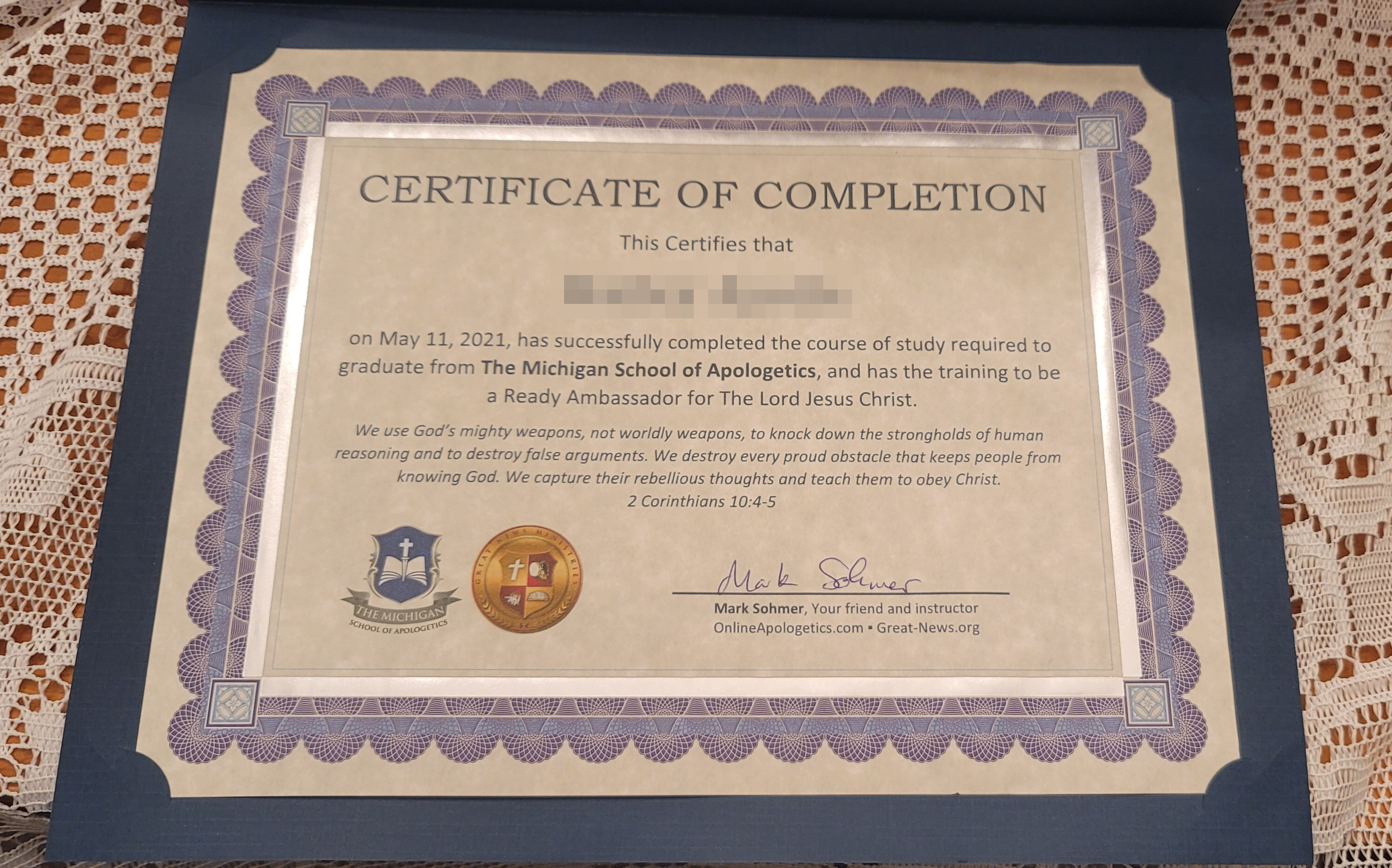 Each Student got one of these Certificates.