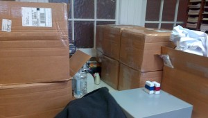 The tracts came in NINE cases!!! These should last us a year. :)