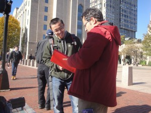 "Walking a student through ""The Good Person Test"" at Boston University."